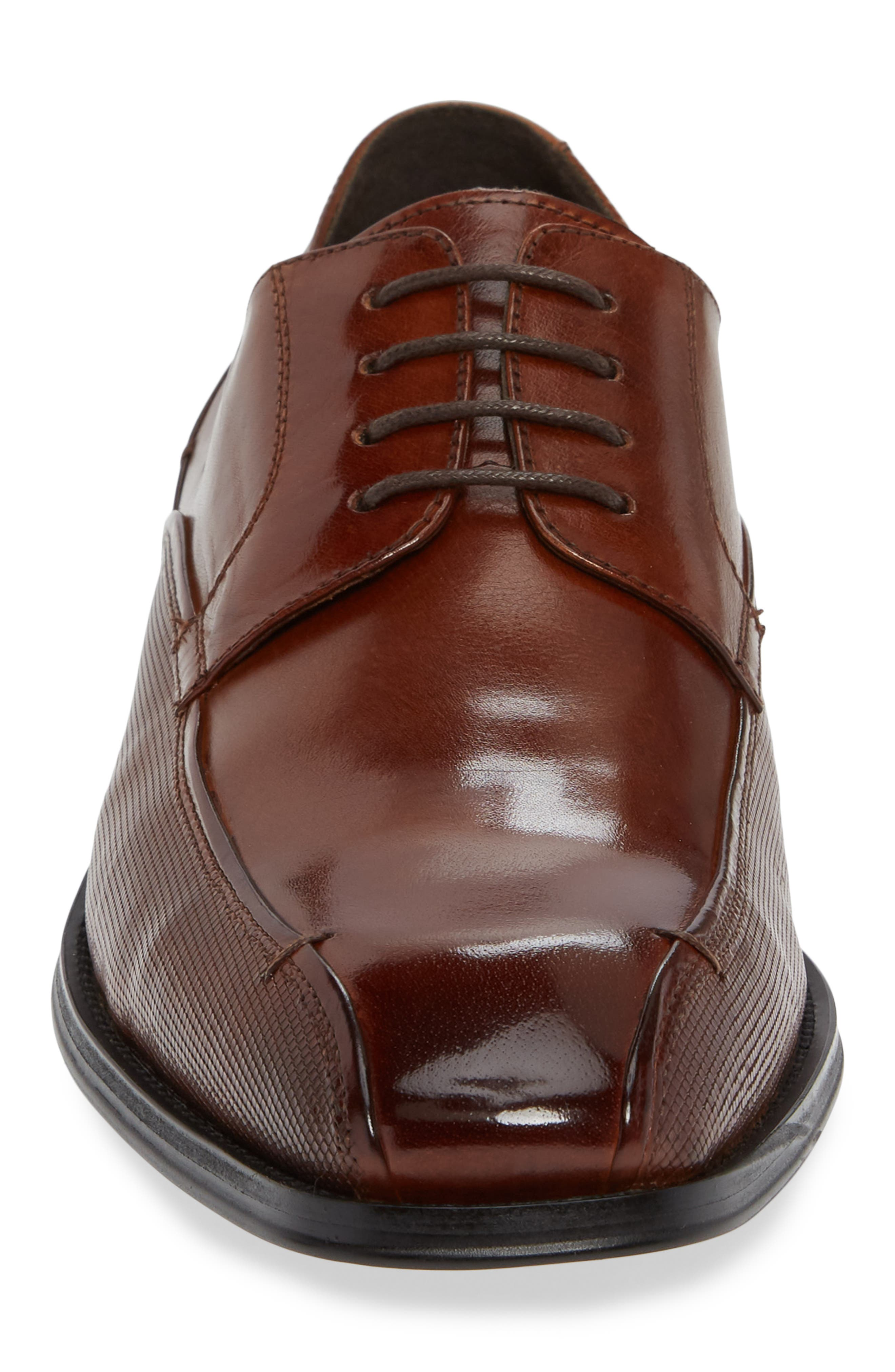 REACTION KENNETH COLE, Witter Textured Bike Toe Derby, Alternate thumbnail 4, color, COGNAC LEATHER