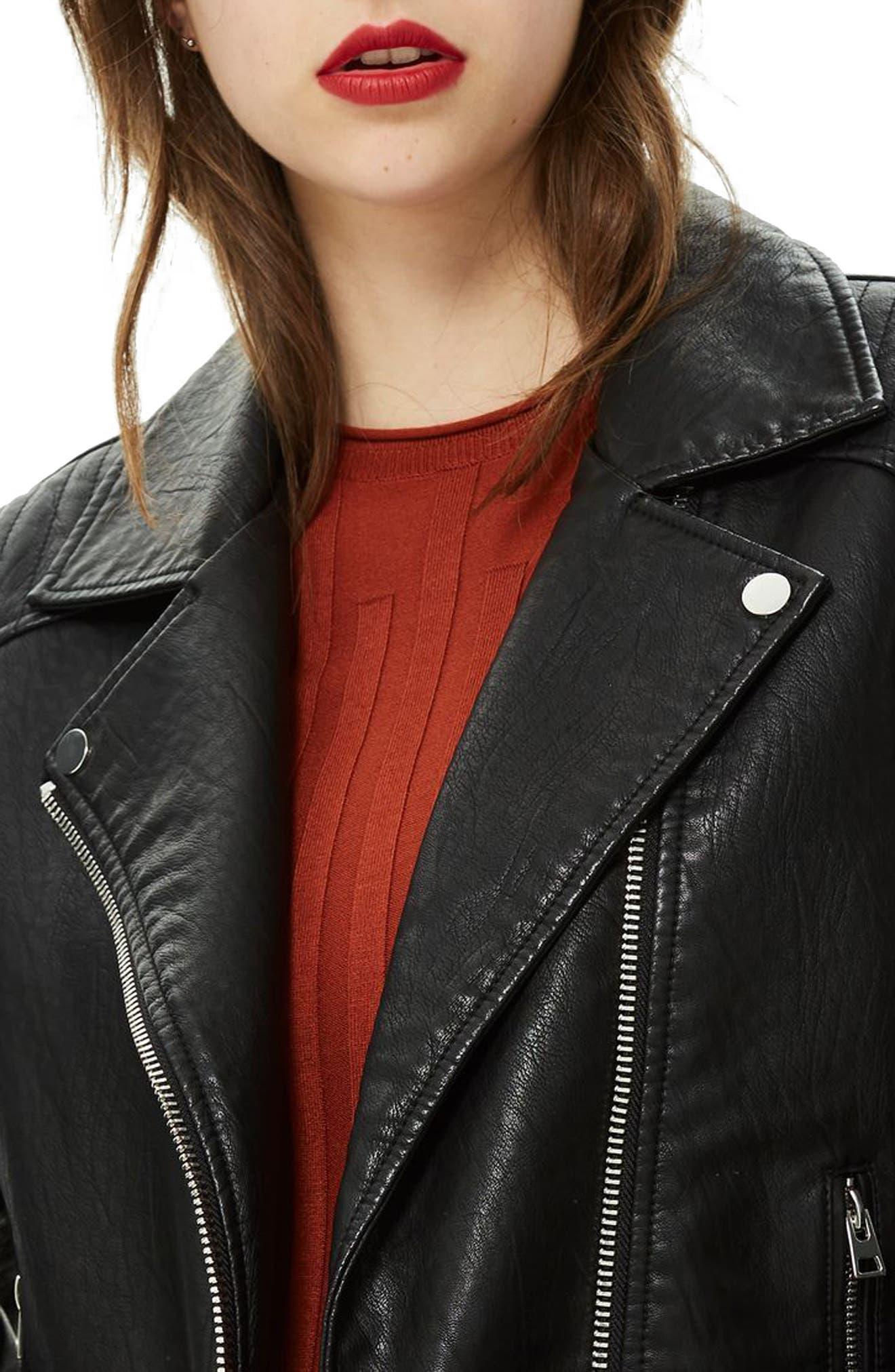 TOPSHOP, Rosa Biker Jacket, Alternate thumbnail 4, color, BLACK