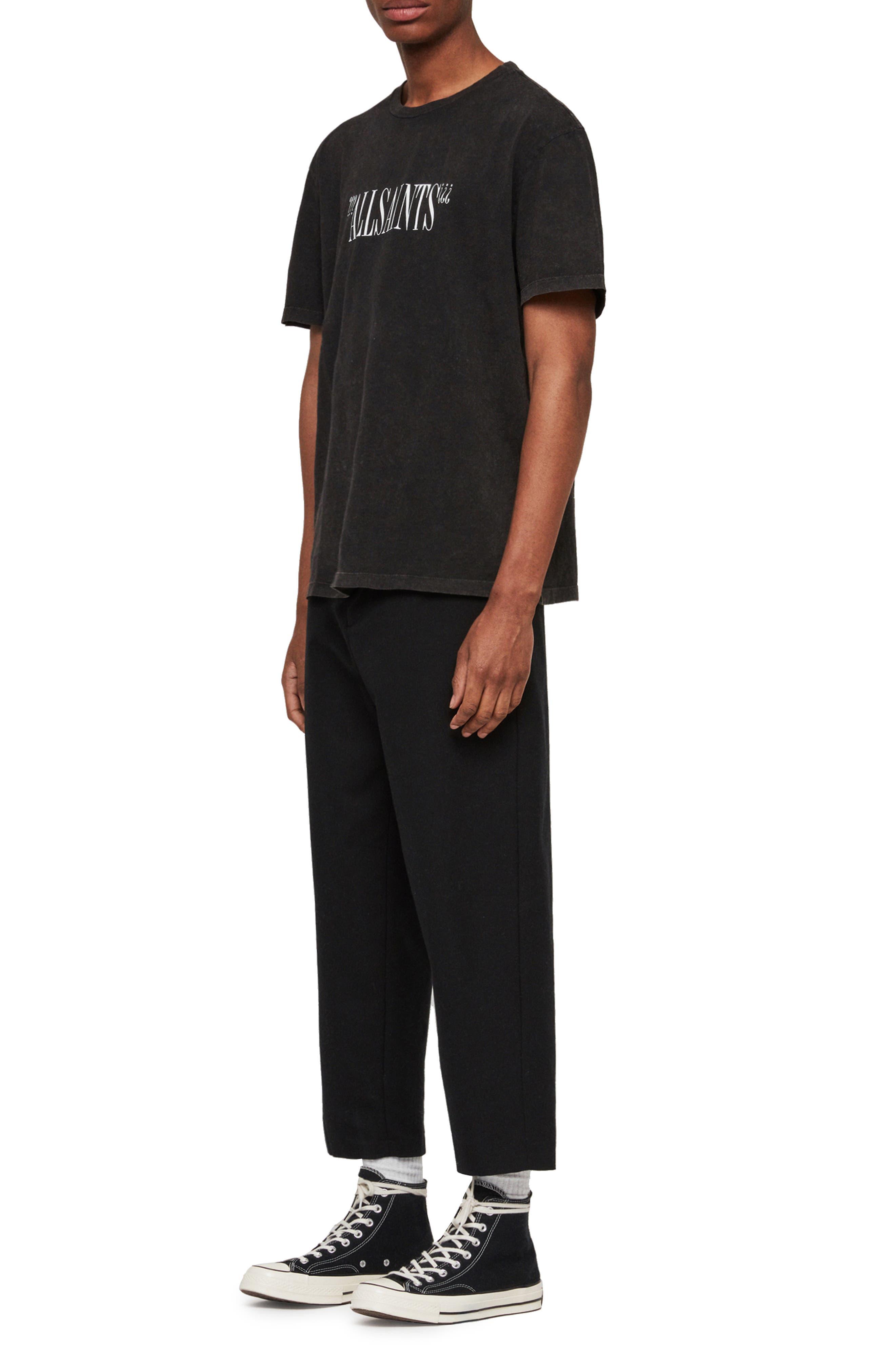 ALLSAINTS, Brackets Classic Fit Crewneck T-Shirt, Alternate thumbnail 5, color, ACID WASHED BLACK