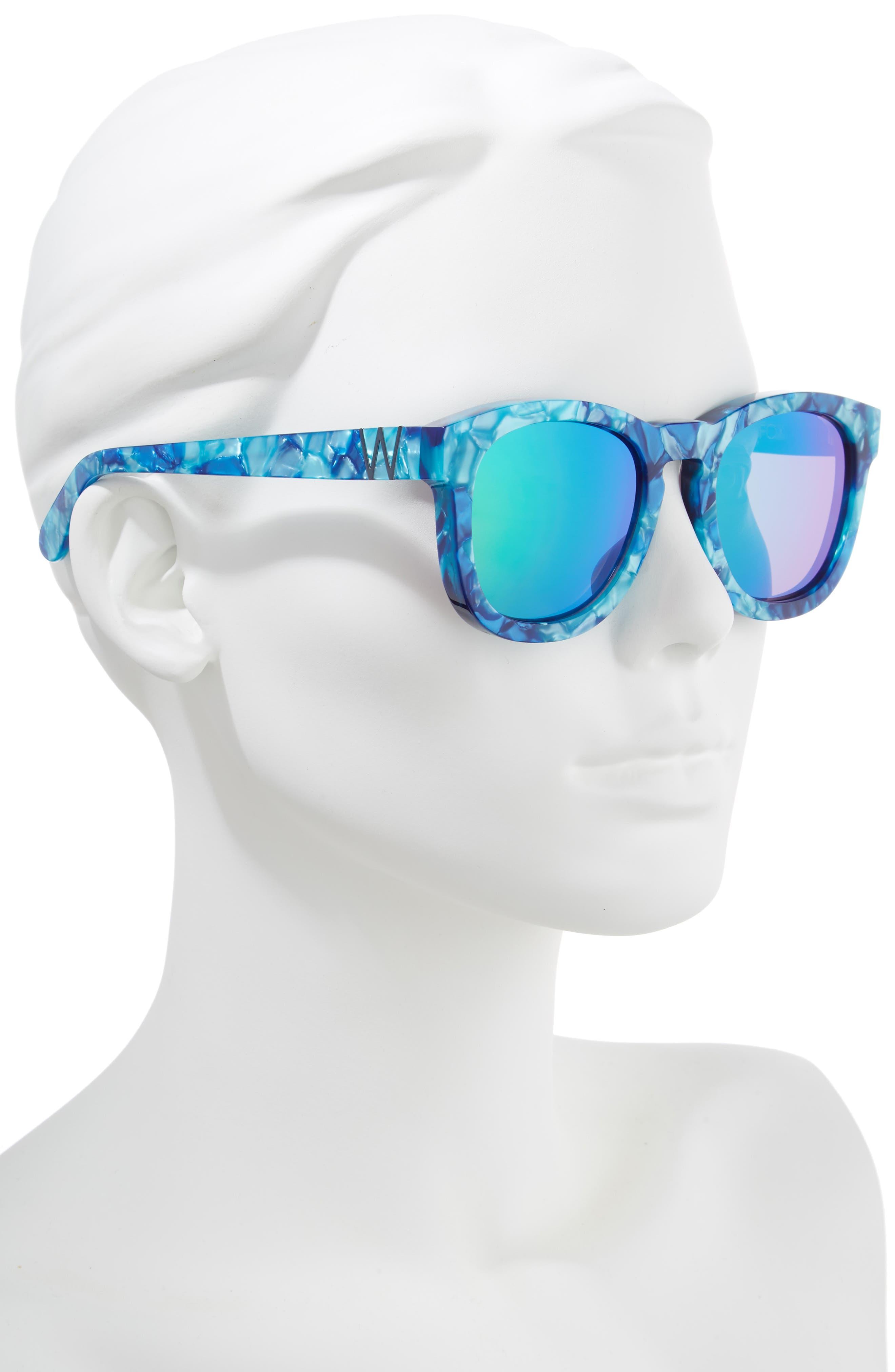 WILDFOX, Classic Fox - Deluxe 59mm Sunglasses, Alternate thumbnail 2, color, MONTEREY/ GREEN MIRROR