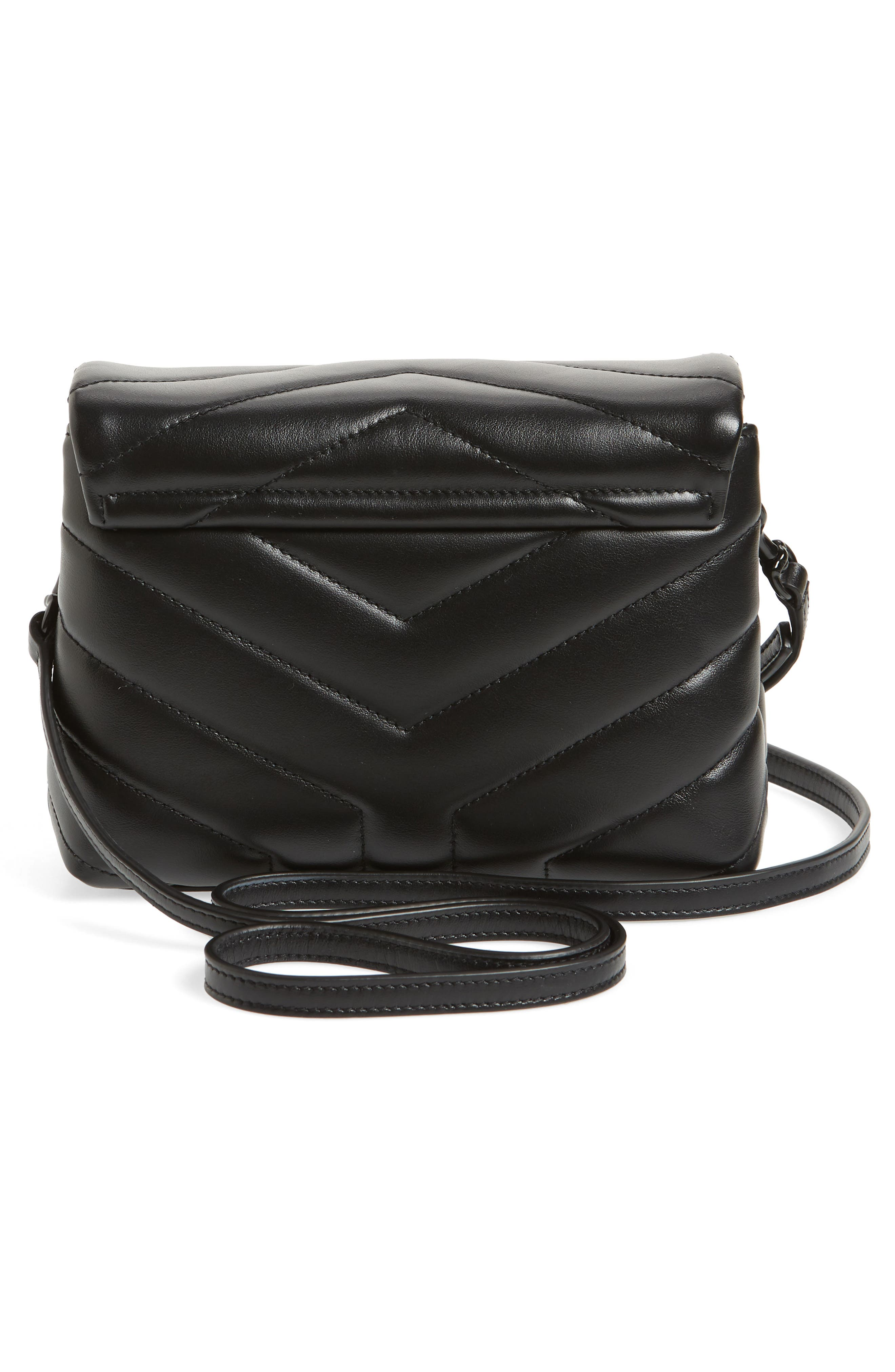 SAINT LAURENT, Toy Loulou Leather Crossbody Bag, Alternate thumbnail 3, color, 001