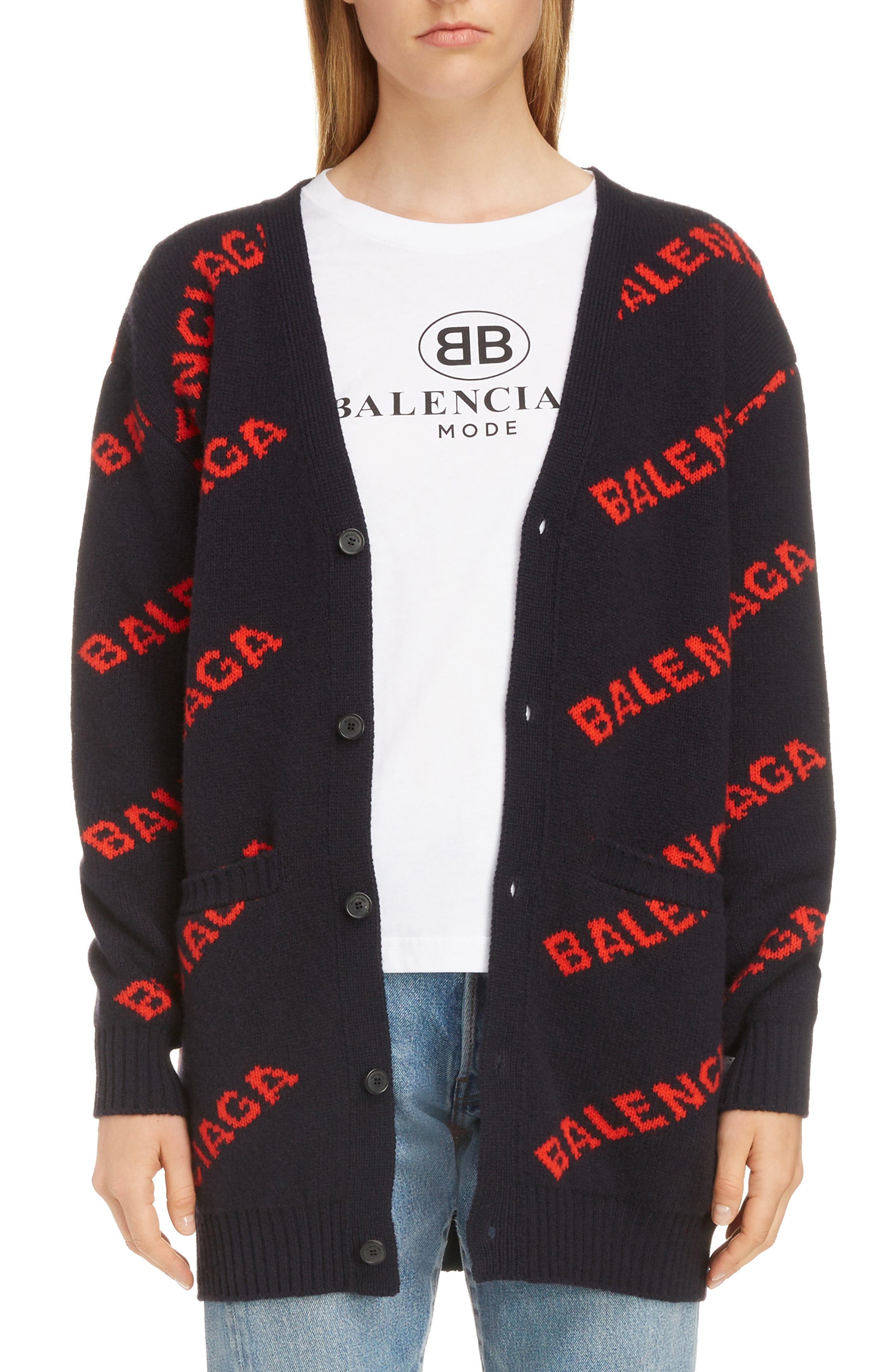BALENCIAGA Logo Jacquard Wool Blend Cardigan, Main, color, NAVY/ ORANGE
