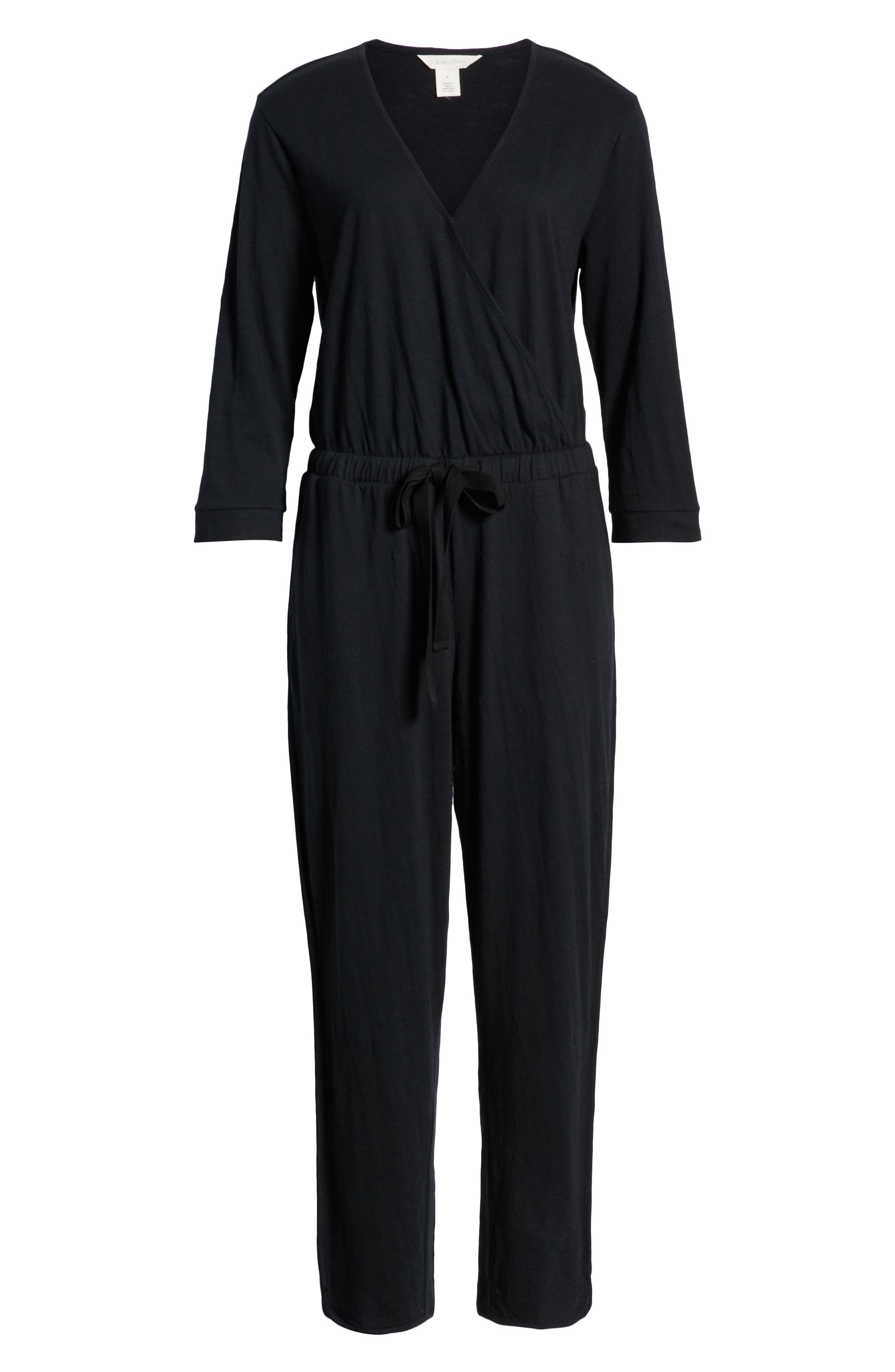 CASLON<SUP>®</SUP>, Surplice Crop Jumpsuit, Alternate thumbnail 6, color, BLACK