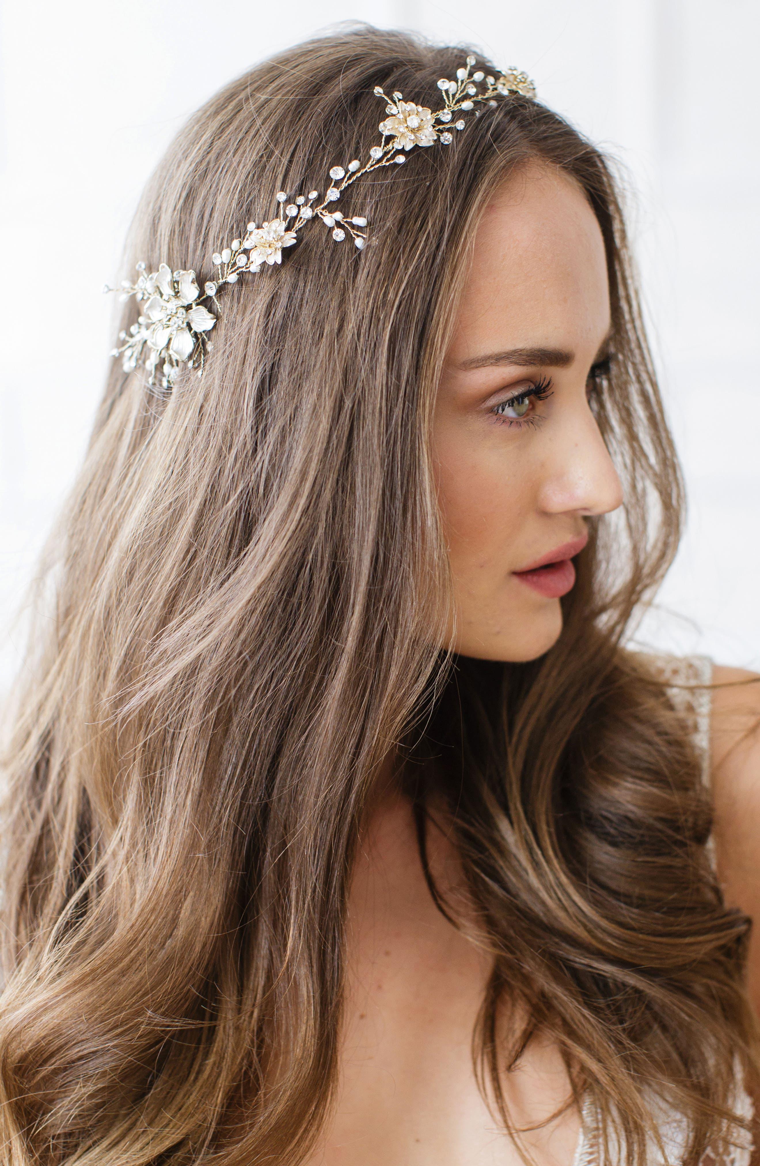 BRIDES & HAIRPINS, Atiena Embellished Floral Motif Halo & Sash, Alternate thumbnail 2, color, 14 K GOLD