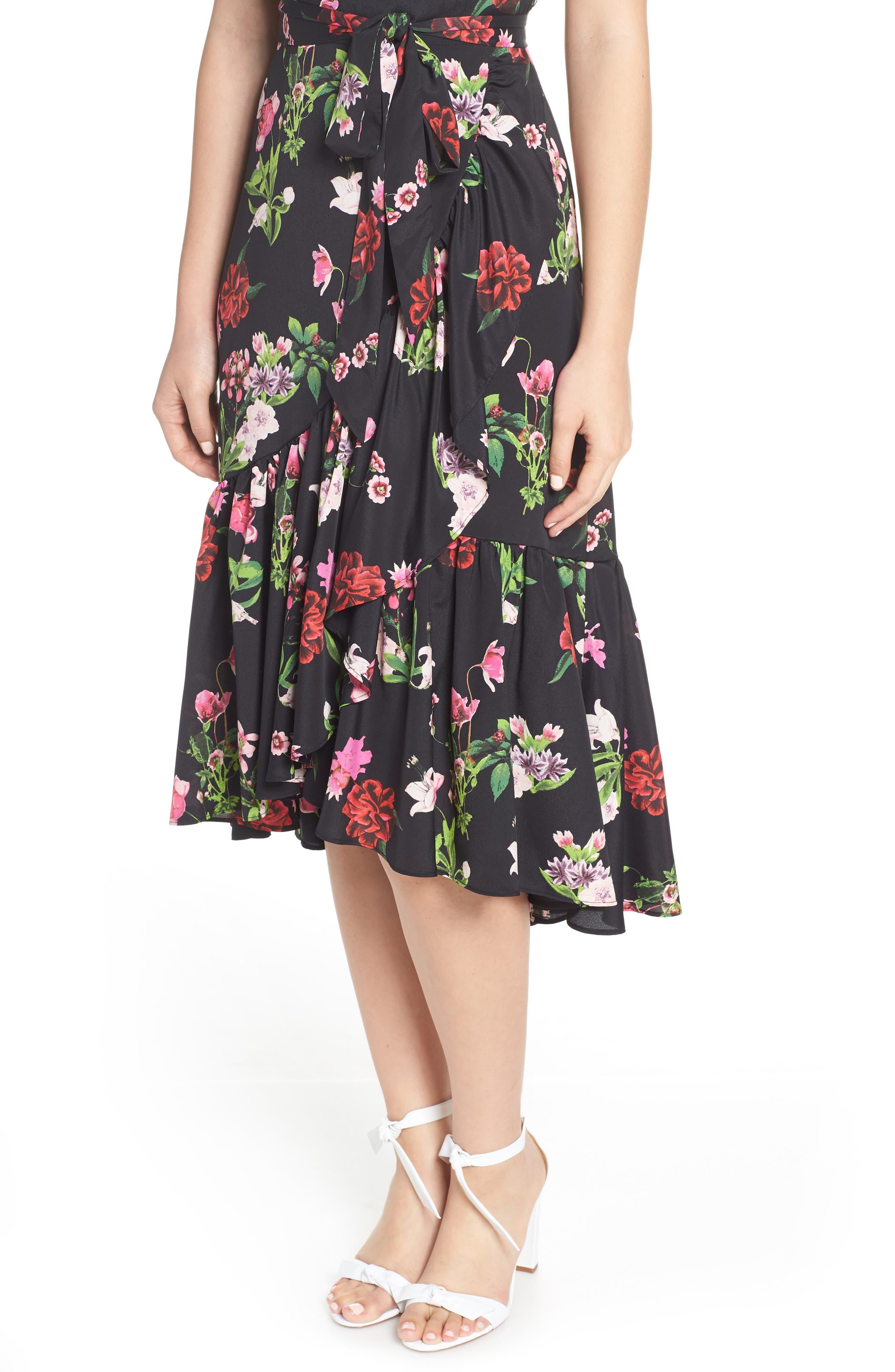 ELIZA J, Ruffle Hem Faux Wrap Dress, Alternate thumbnail 6, color, BLACK