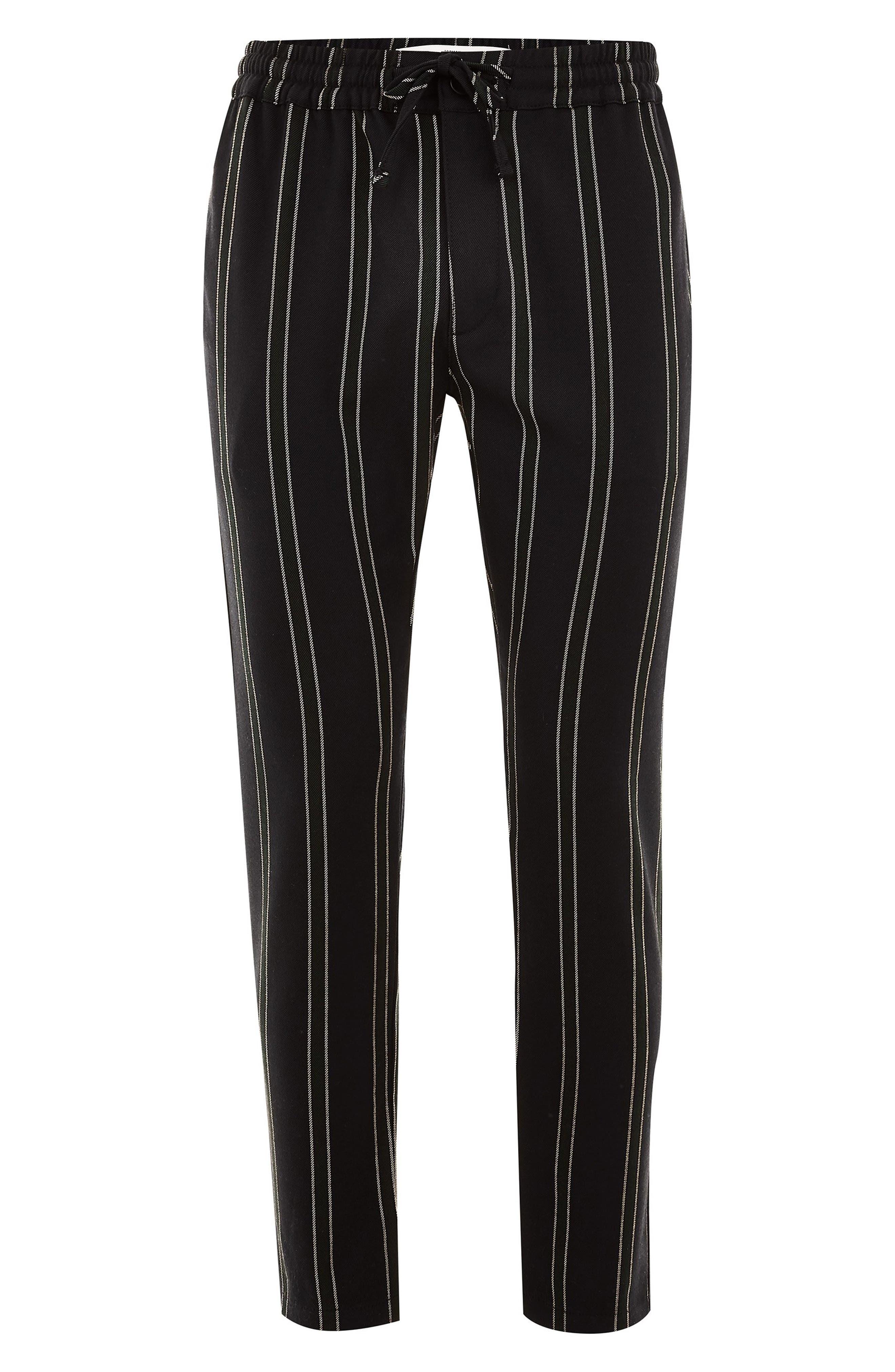 TOPMAN, Stripe Jogger Pants, Alternate thumbnail 4, color, NAVY MULTI
