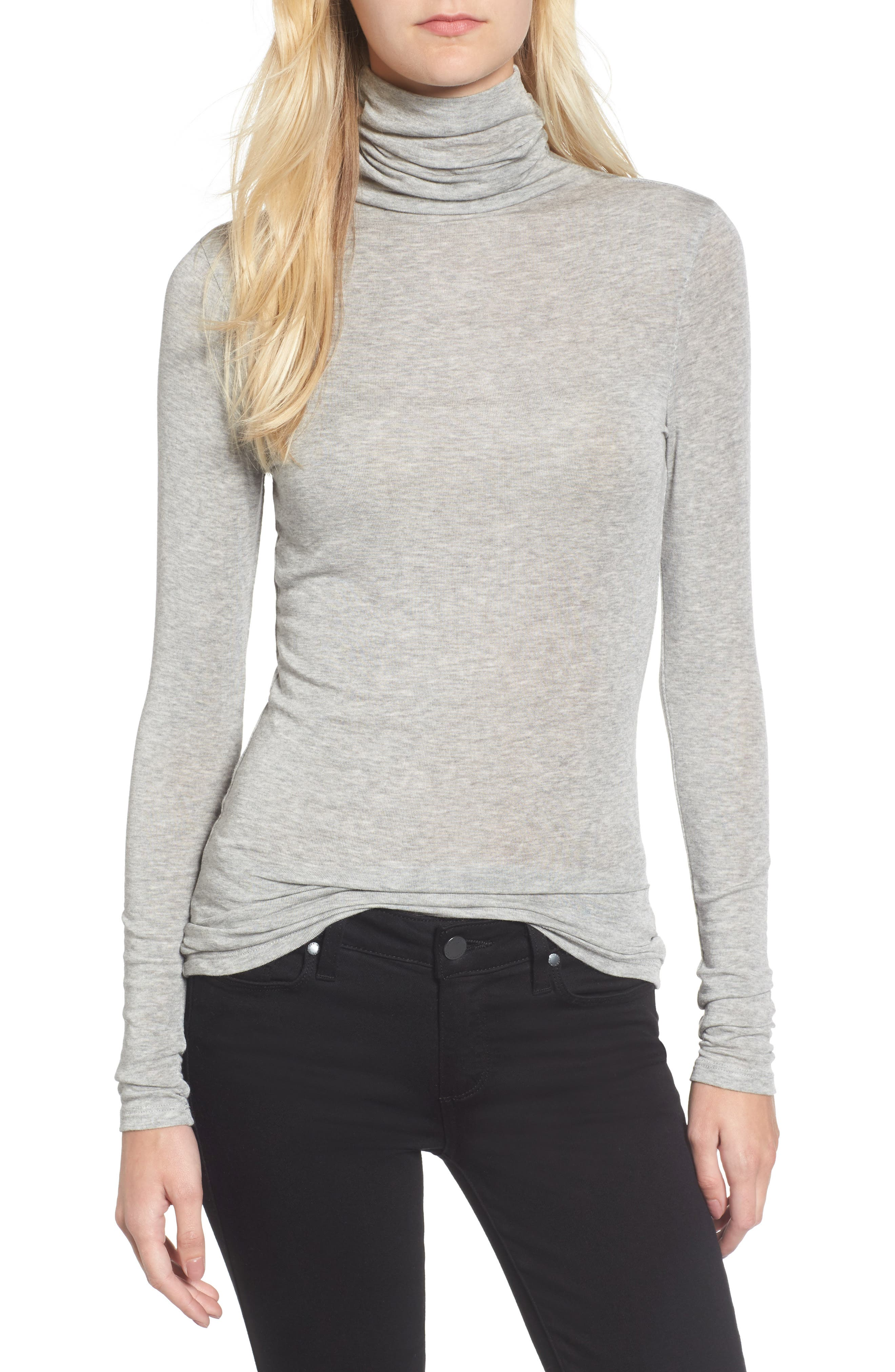 CHELSEA28 Layering Turtleneck, Main, color, GREY HEATHER