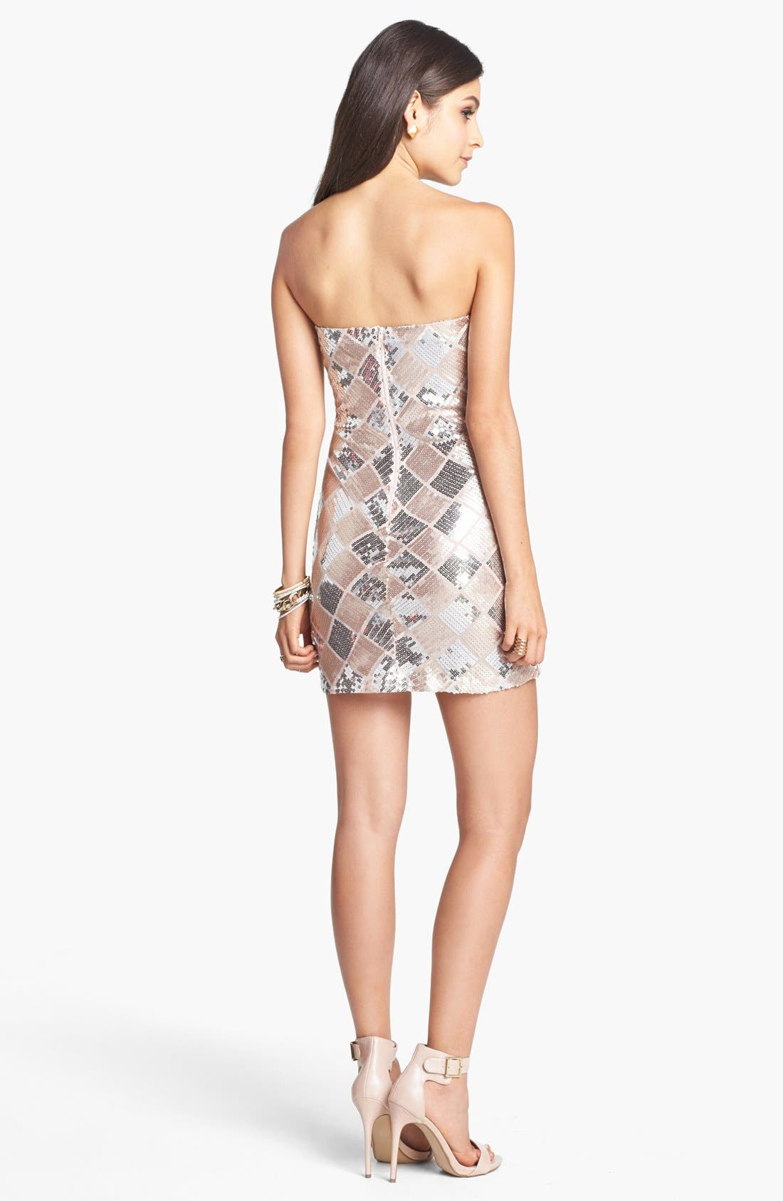TRIXXI, Checkered Sequin Tube Dress, Alternate thumbnail 2, color, 660