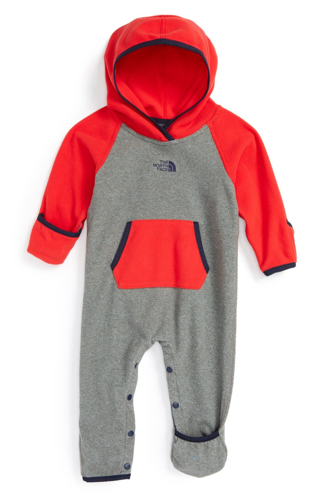 THE NORTH FACE, 'Glacier' Hooded Romper, Main thumbnail 1, color, 030