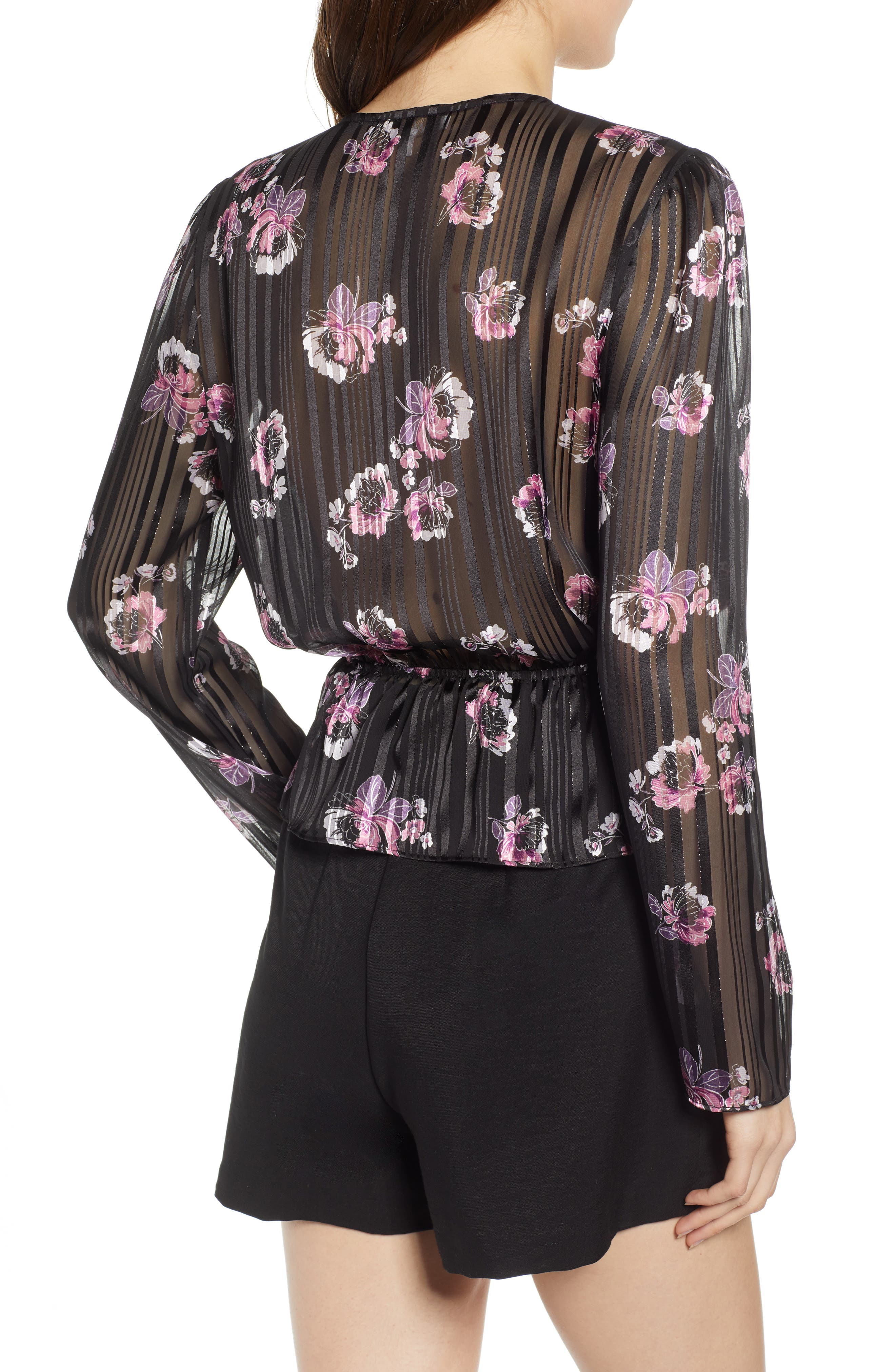 WAYF, Floral Print Peplum Top, Alternate thumbnail 2, color, BLACK FLORAL SHADOW STRIPE
