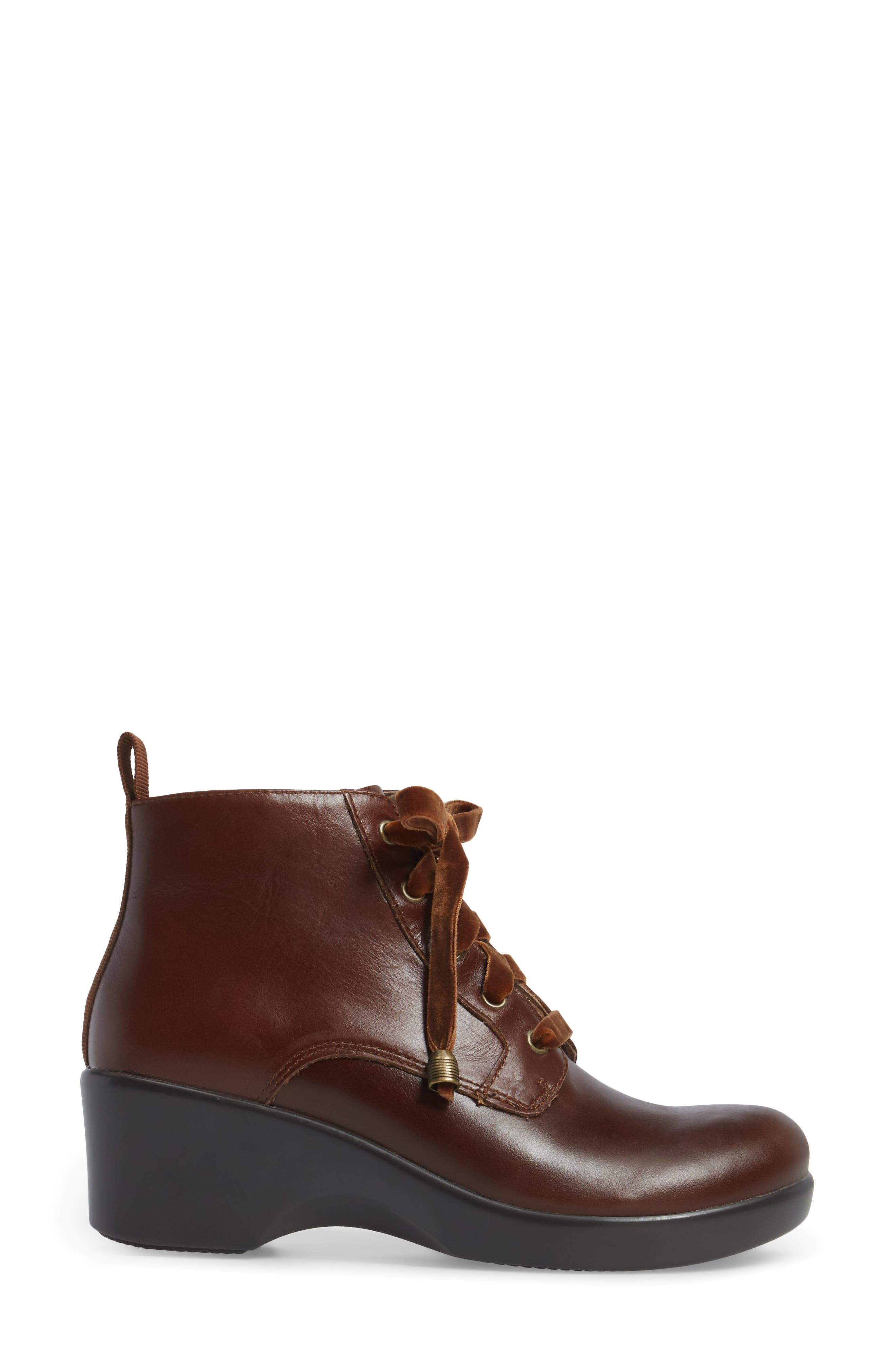 ALEGRIA, Eliza Water Resistant Bootie, Alternate thumbnail 3, color, CHESTNUT LUSTER LEATHER