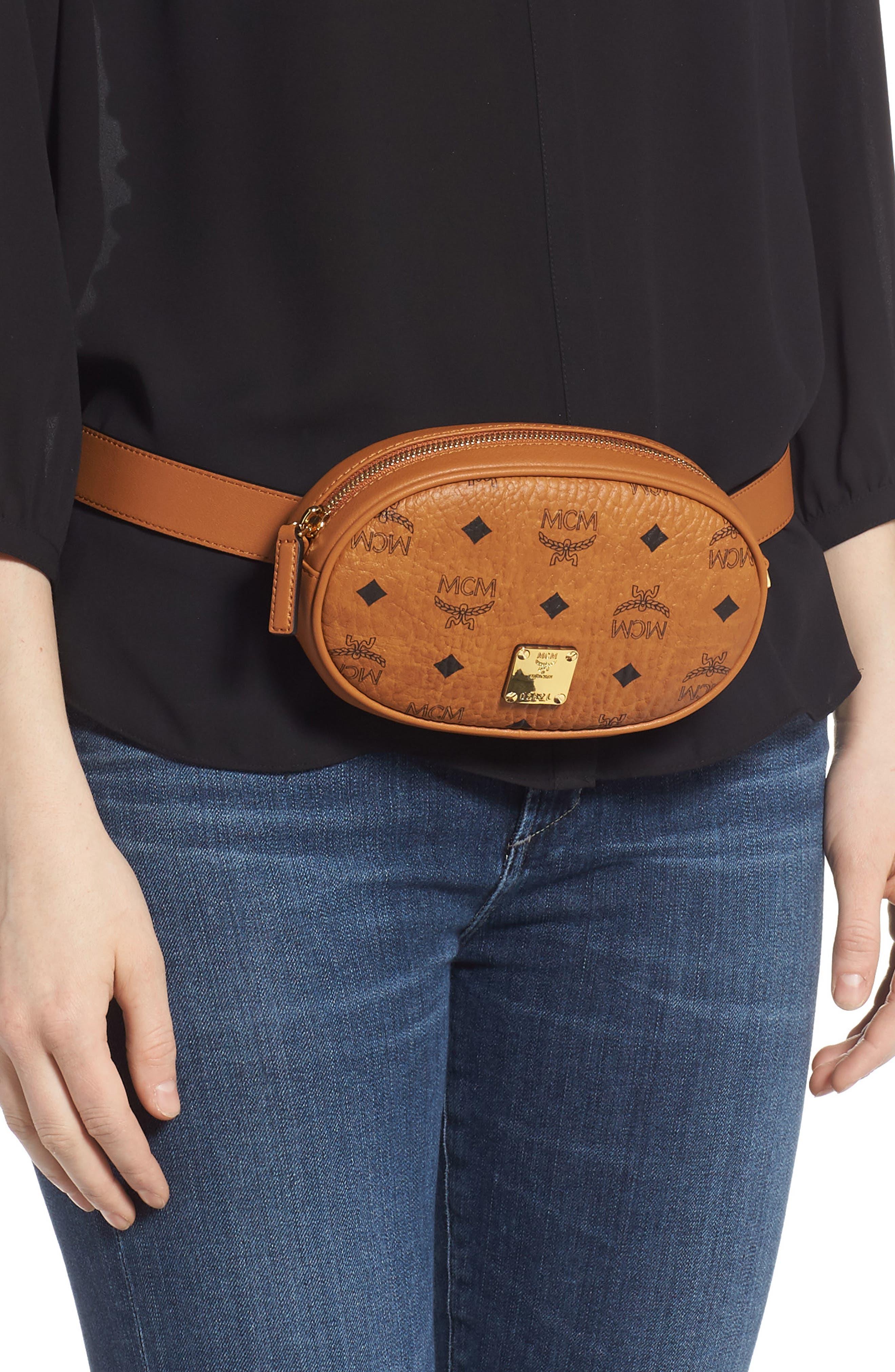 MCM, Essential Convertible Belt Bag, Alternate thumbnail 2, color, COGNAC