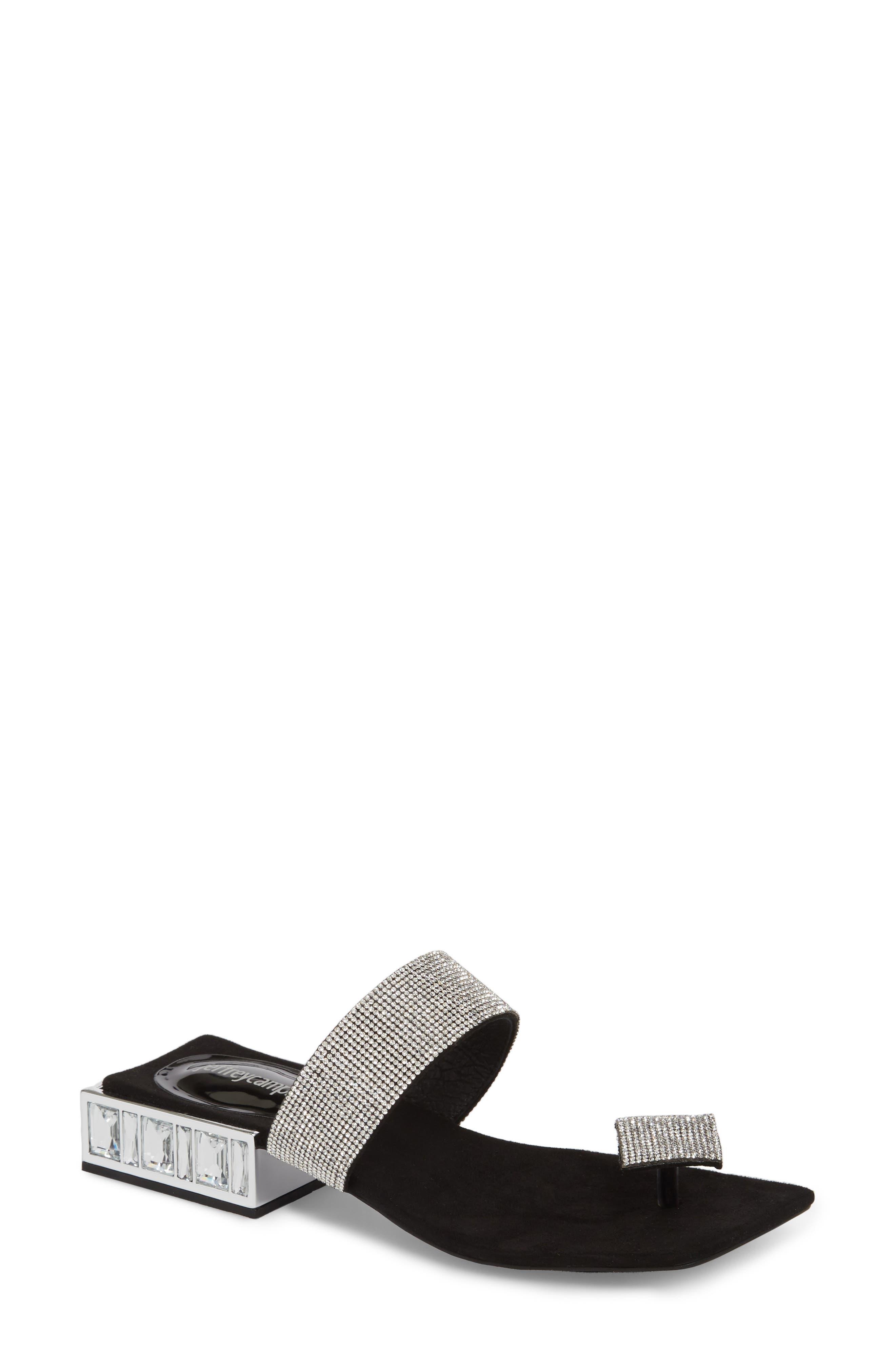 JEFFREY CAMPBELL, Alise Embellished Sandal, Main thumbnail 1, color, BLACK SUEDE/ SILVER