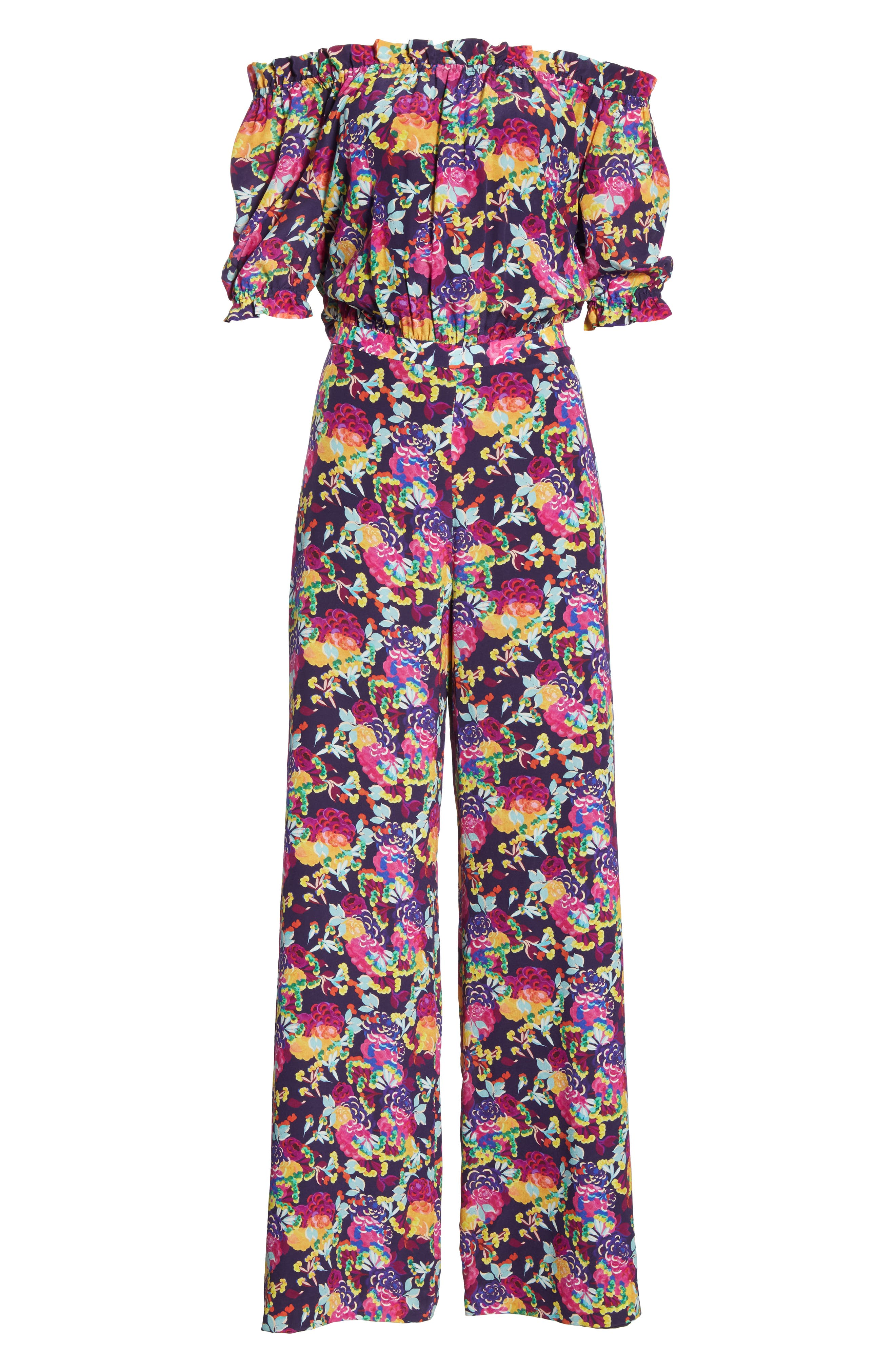 SALONI, Juli Off the Shoulder Silk Jumpsuit, Alternate thumbnail 7, color, CAMELLIA