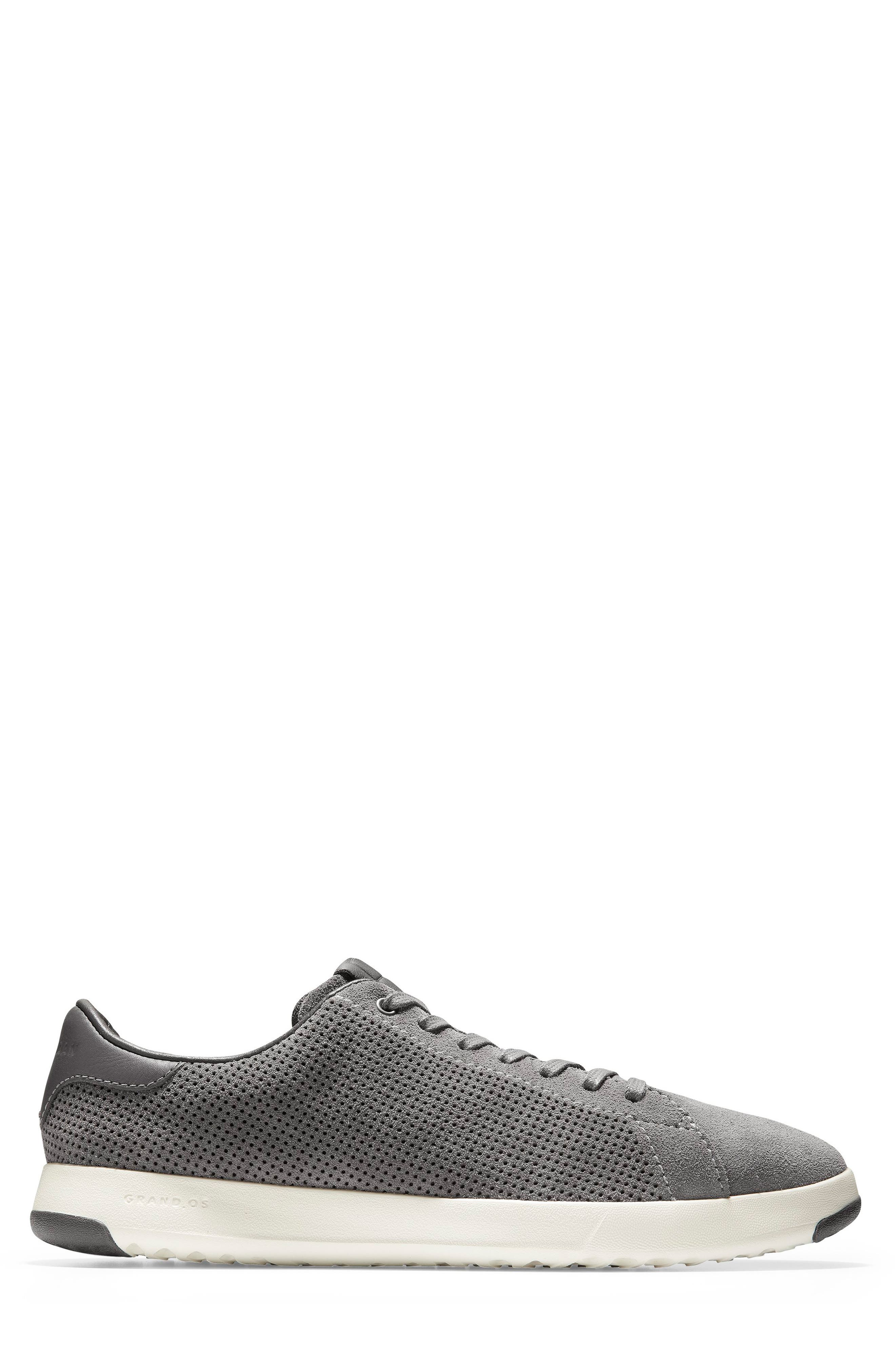 COLE HAAN, GrandPro Tennis Sneaker, Alternate thumbnail 3, color, GREY SUEDE