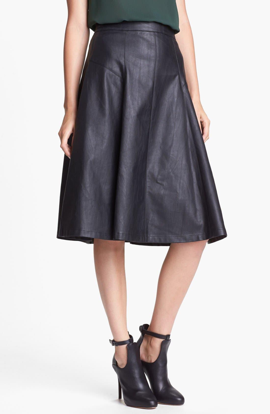 ASTR THE LABEL, ASTR Faux Leather Midi Skirt, Main thumbnail 1, color, 001