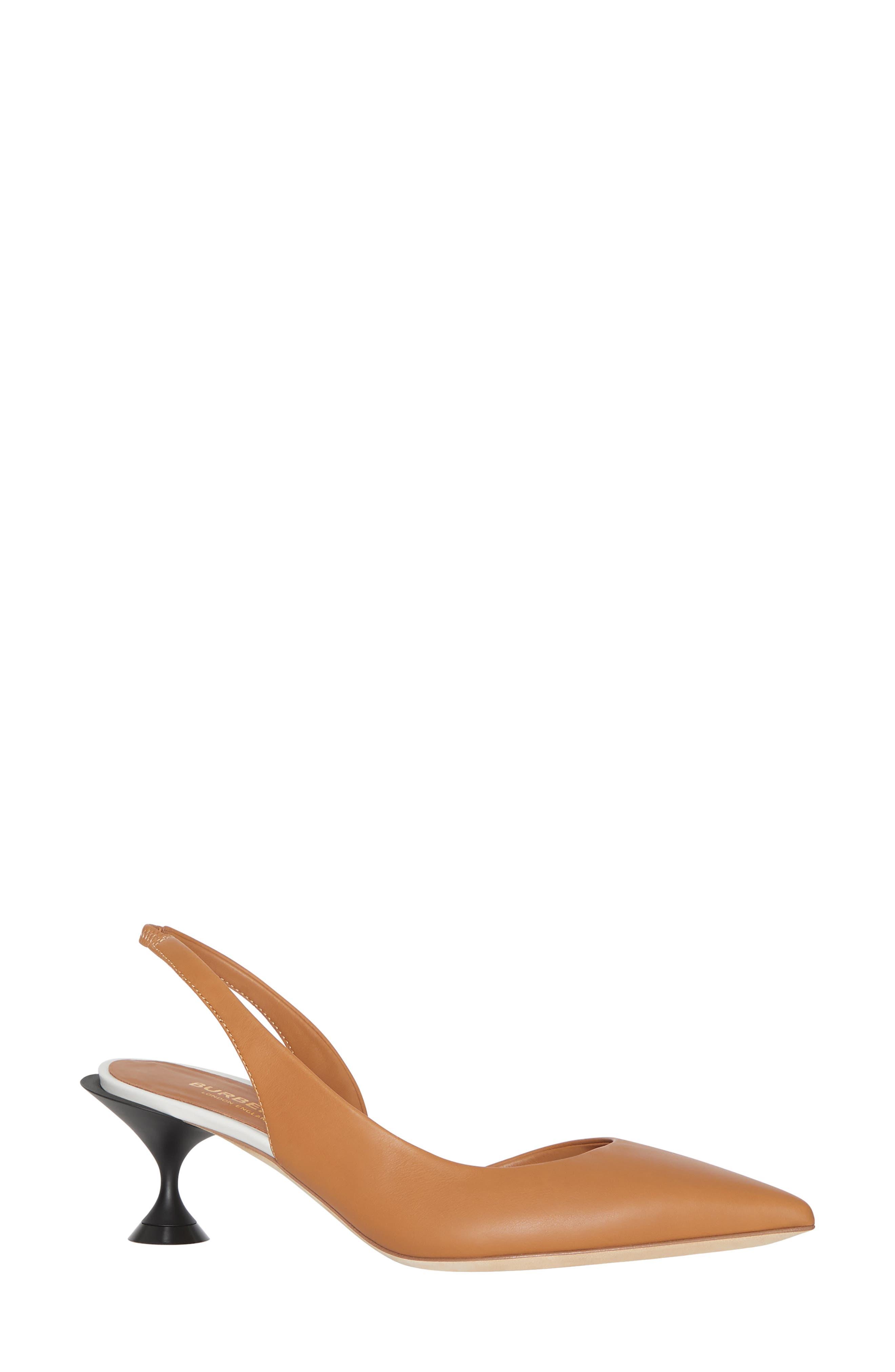 BURBERRY, Leticia Check Slingback Pump, Main thumbnail 1, color, CAMEL