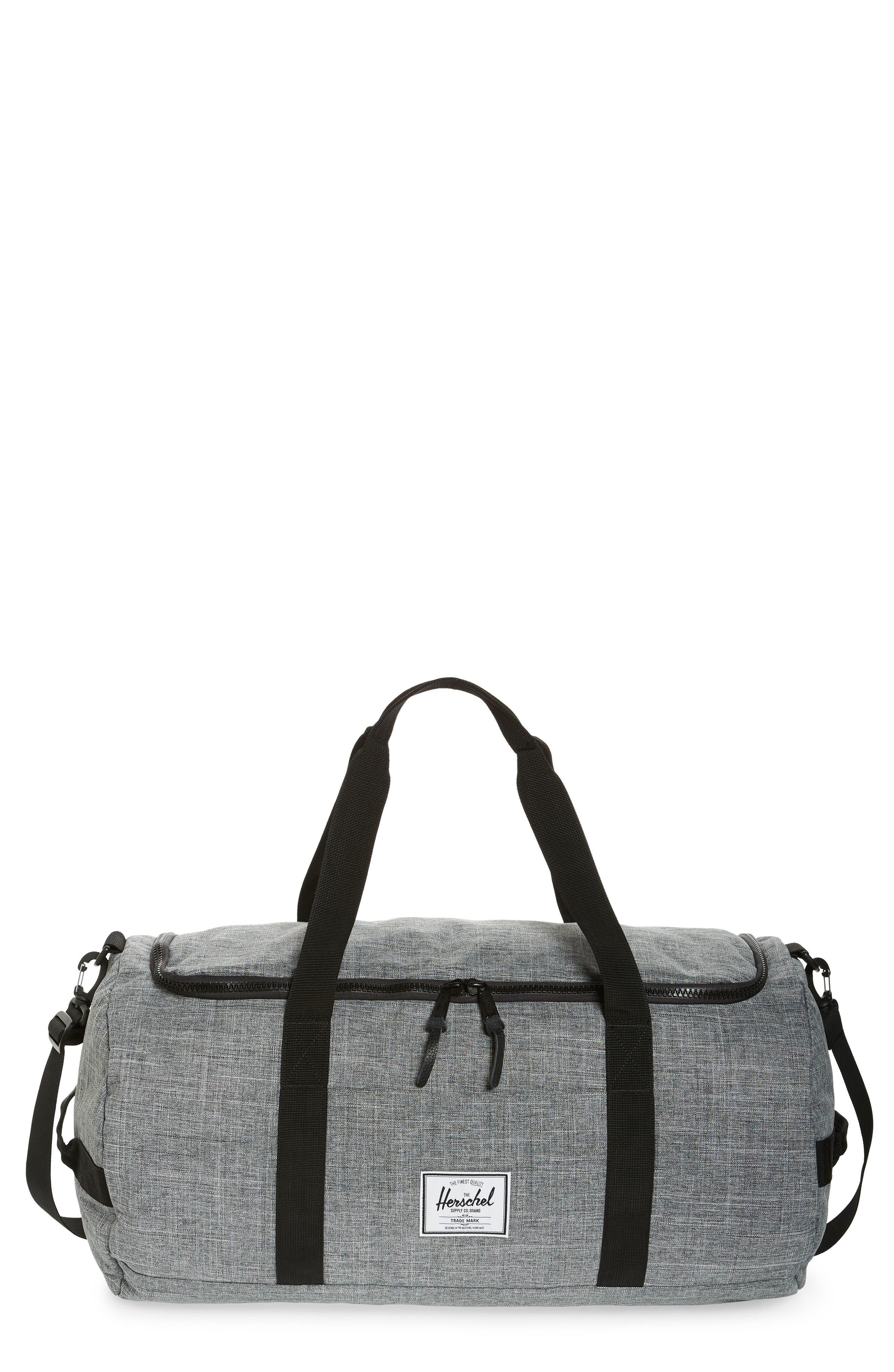 HERSCHEL SUPPLY CO. Sutton Duffel Bag, Main, color, RAVEN CROSSHATCH