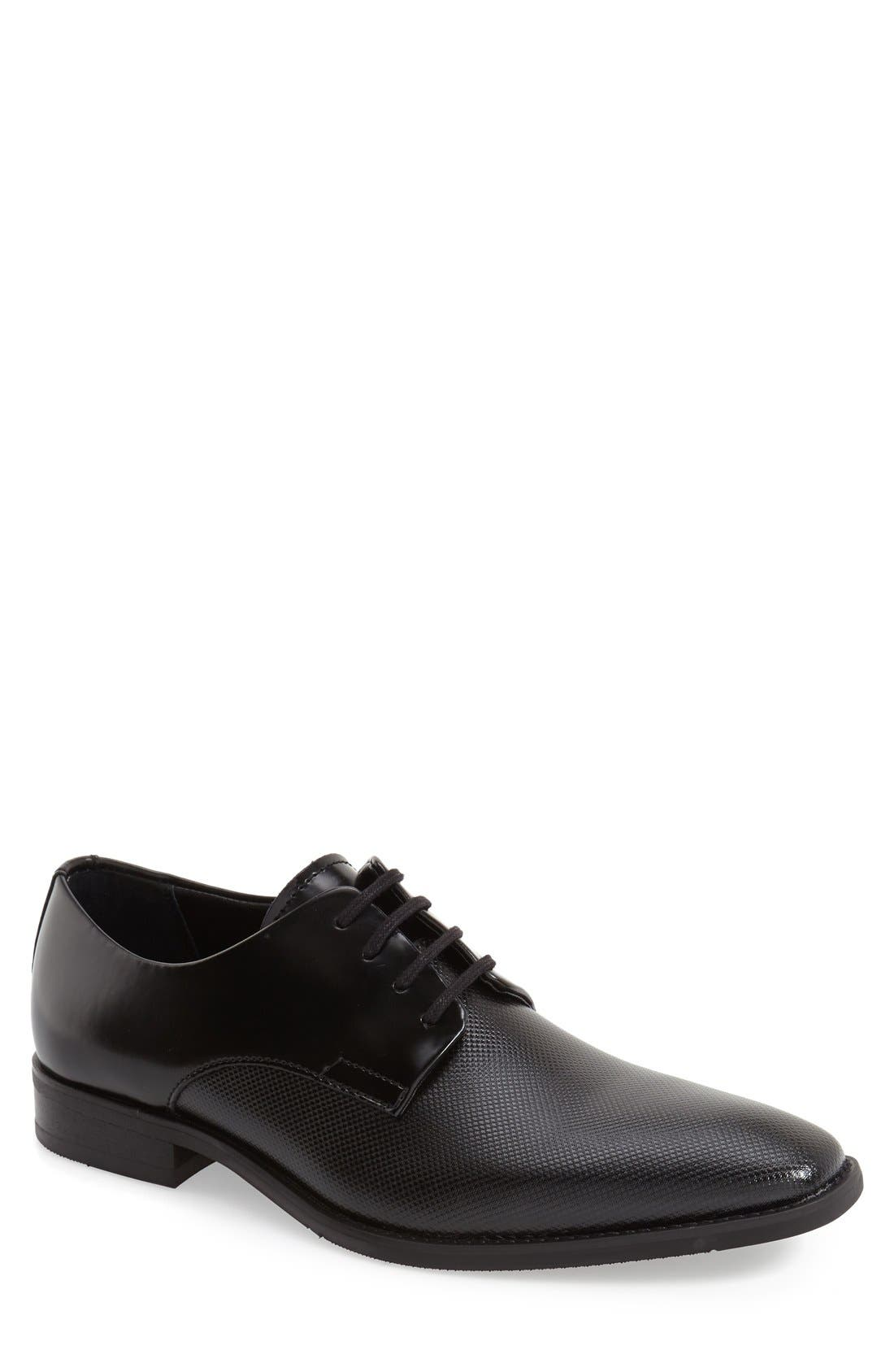 CALVIN KLEIN, 'Ramses' Plain Toe Derby, Main thumbnail 1, color, BLACK LEATHER