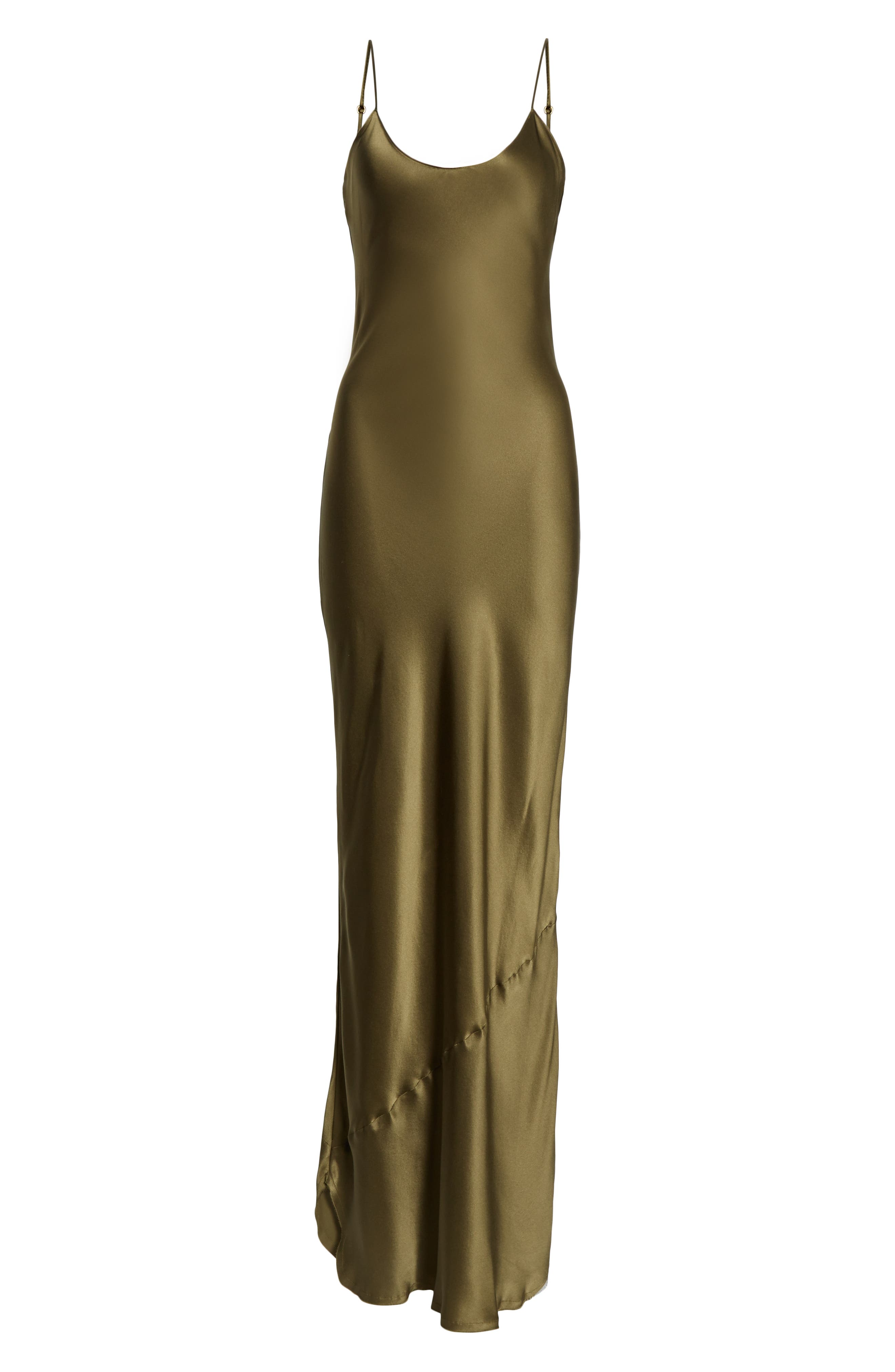 NILI LOTAN, Silk Camisole Gown, Alternate thumbnail 7, color, OLIVE