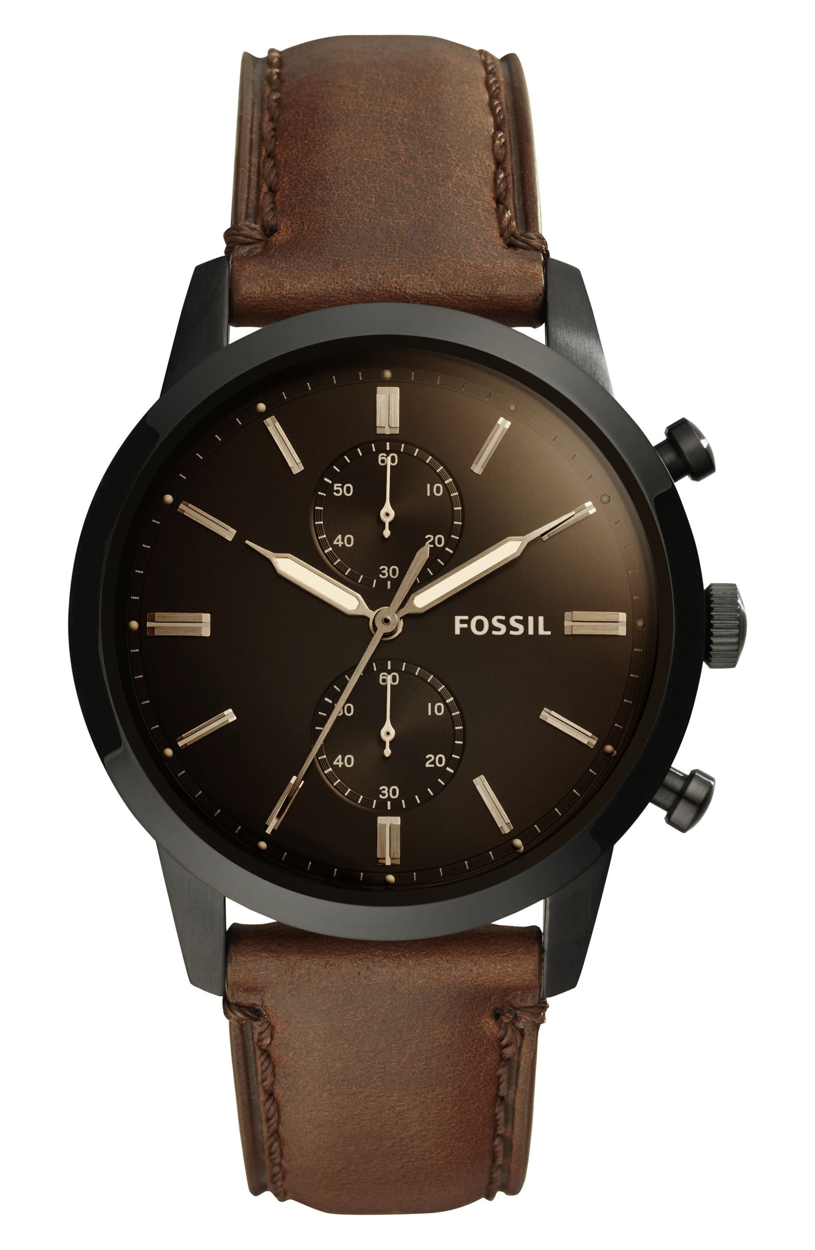 FOSSIL, Townsman Chronograph Leather Strap Watch, 44mm, Main thumbnail 1, color, BROWN/ BLACK/ BLACK