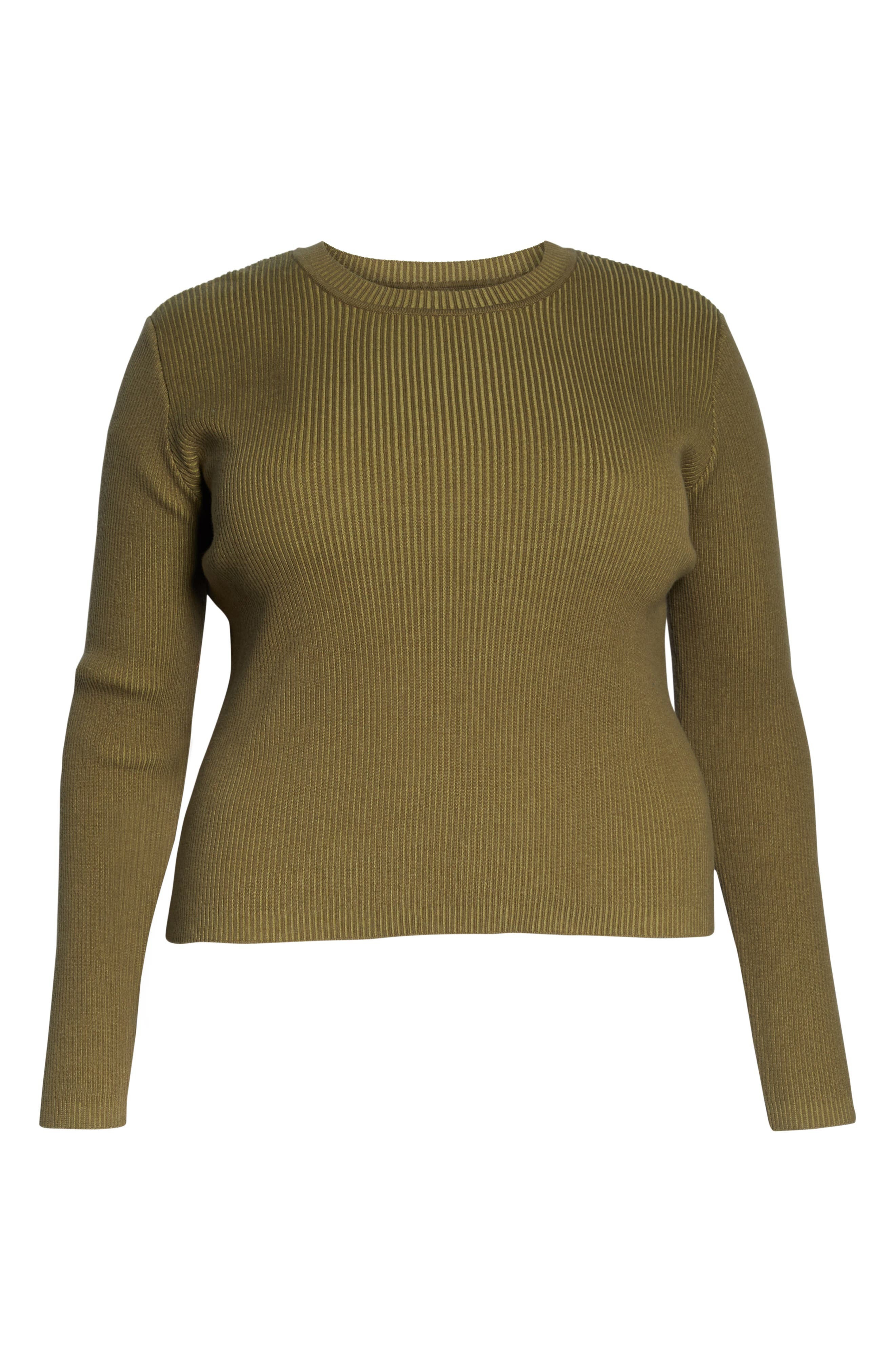BP., Plaited Rib Sweater, Alternate thumbnail 12, color, OLIVE BURNT