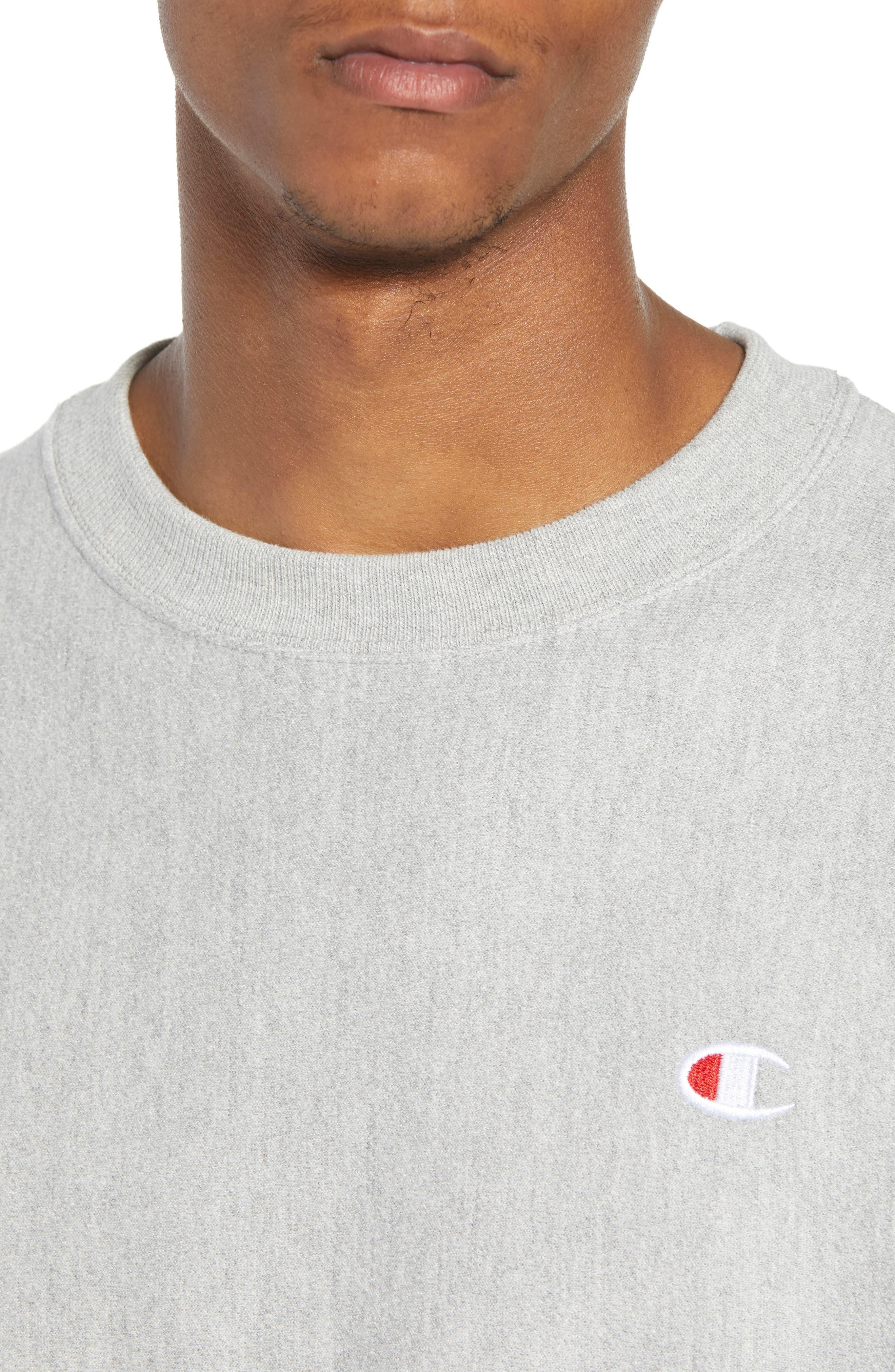 CHAMPION, Reverse Weave Sweatshirt, Alternate thumbnail 4, color, OXFORD GRAY