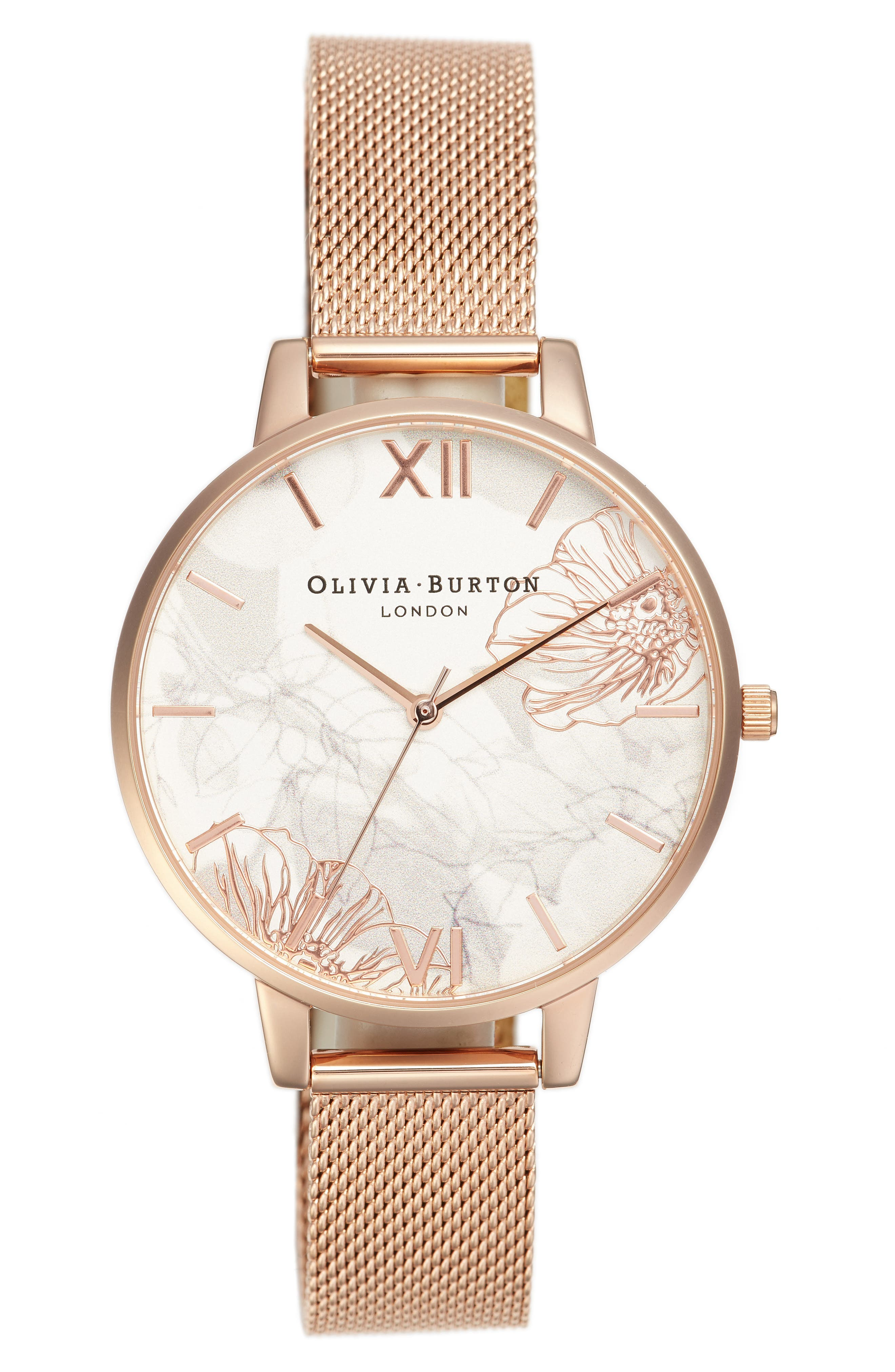OLIVIA BURTON, Oliva Burton Abstract Florals Mesh Bracelet Watch, 38mm, Main thumbnail 1, color, ROSE GOLD