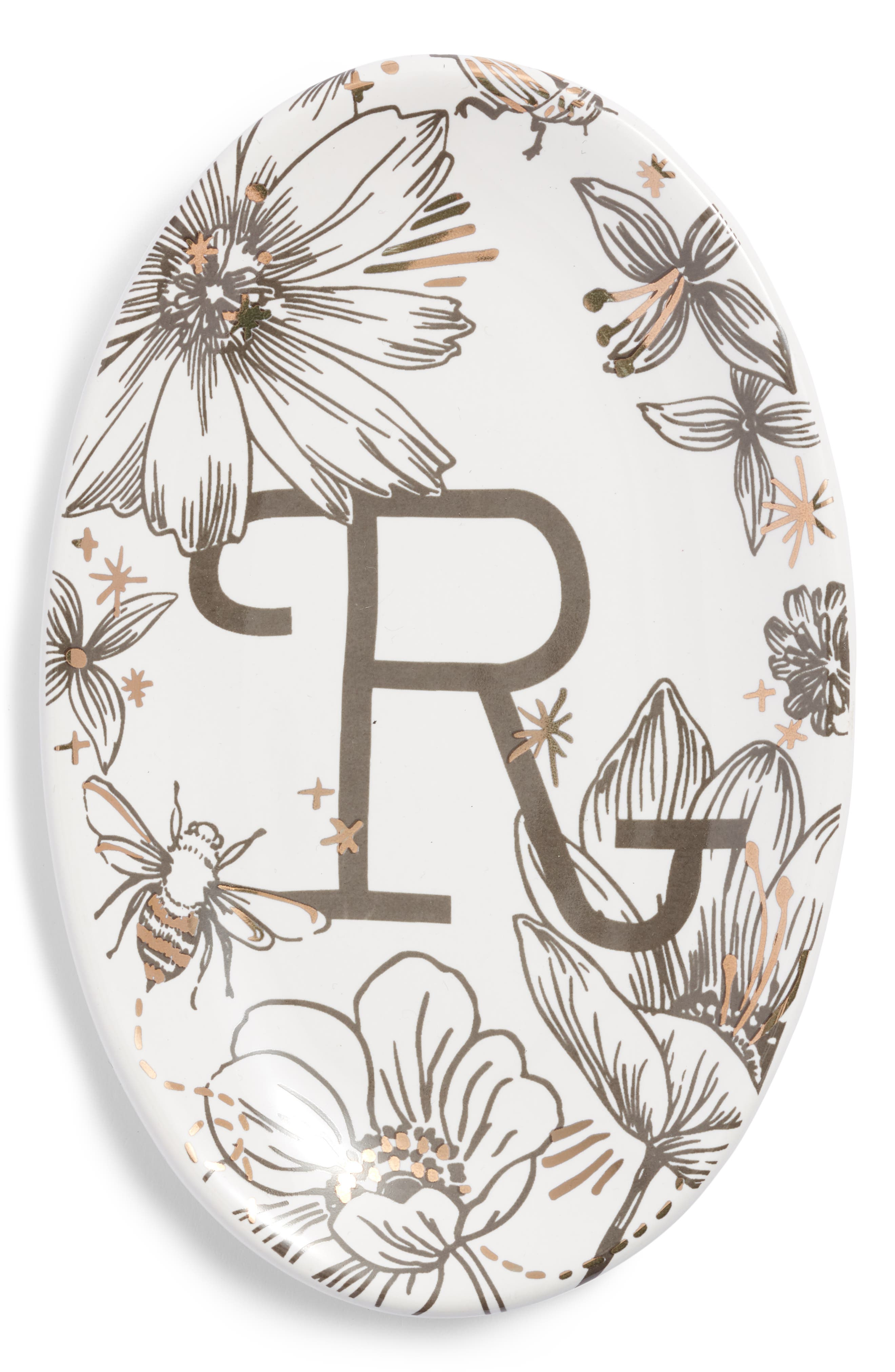 NORDSTROM AT HOME, Floral Monogram Trinket Tray, Main thumbnail 1, color, WHITE R