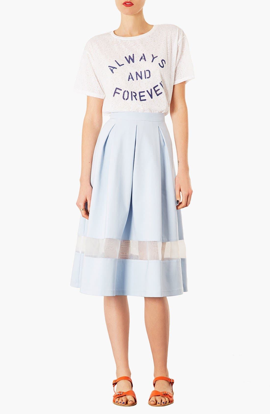 TOPSHOP, Organza Stripe Skirt, Alternate thumbnail 3, color, 450