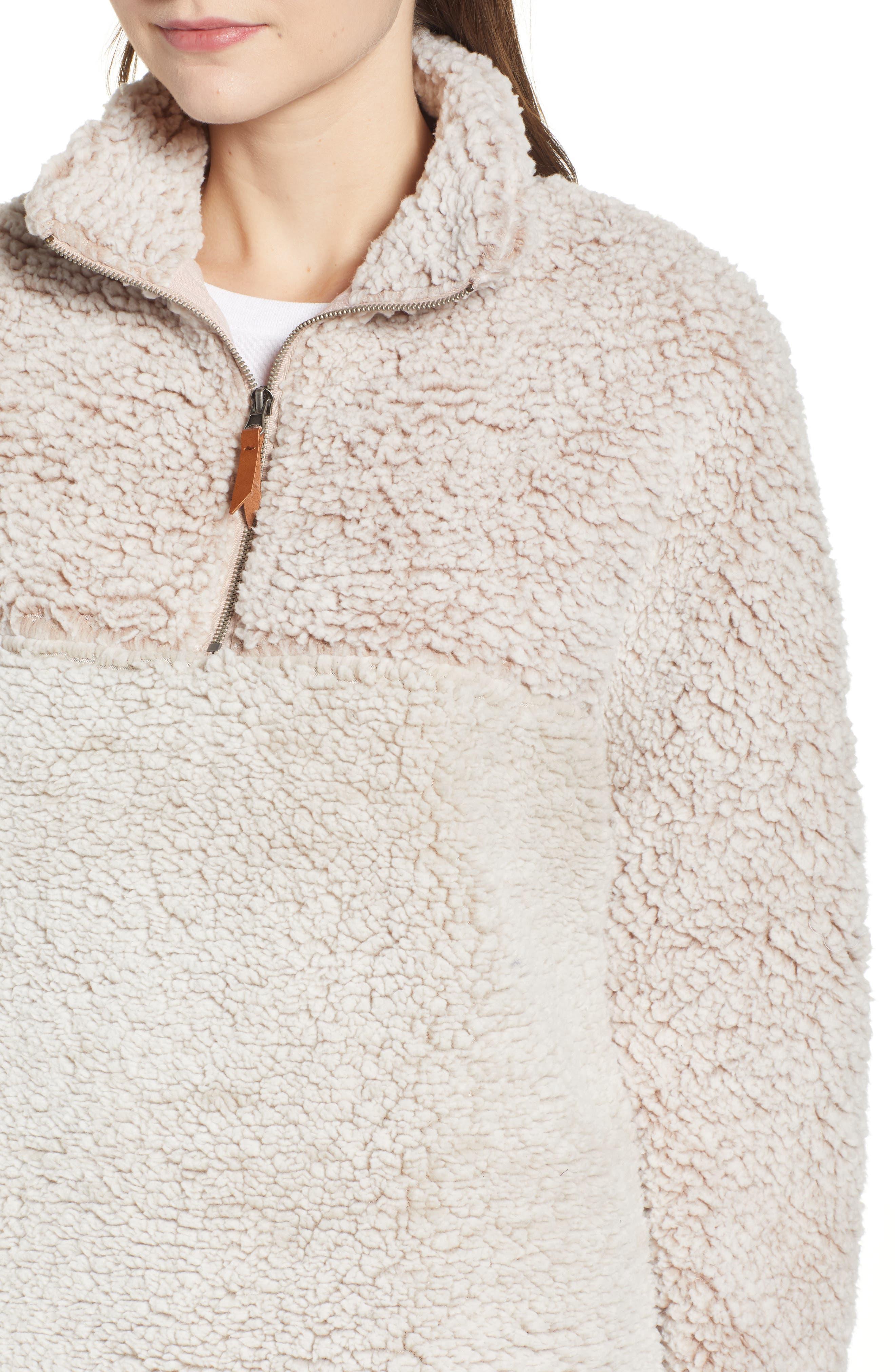 THREAD & SUPPLY, Colorblock Wubby Fleece Pullover, Alternate thumbnail 4, color, SMOKE ROSE IVORY