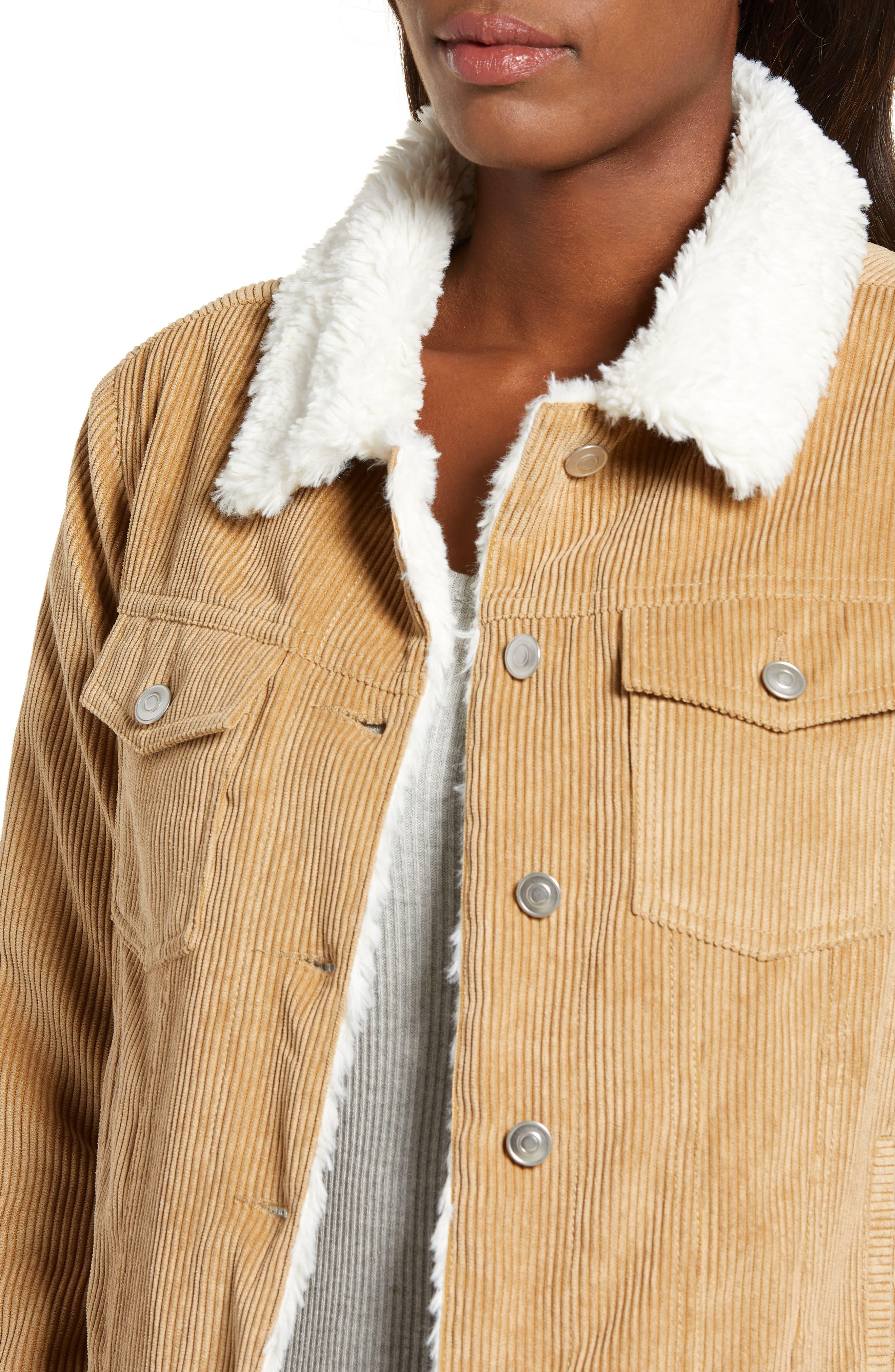 THREAD & SUPPLY, Paddington Fleece Lined Corduroy Jacket, Alternate thumbnail 5, color, KHAKI