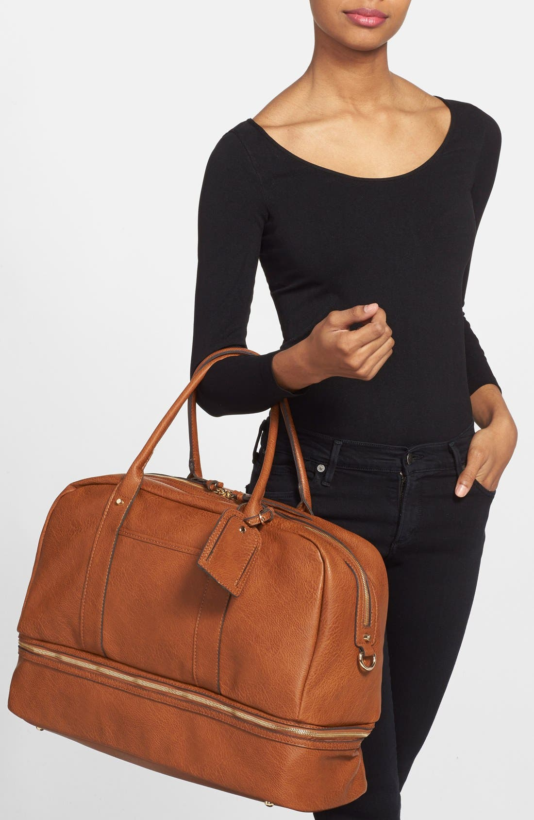 SOLE SOCIETY, Mason Weekend Bag, Alternate thumbnail 3, color, COGNAC