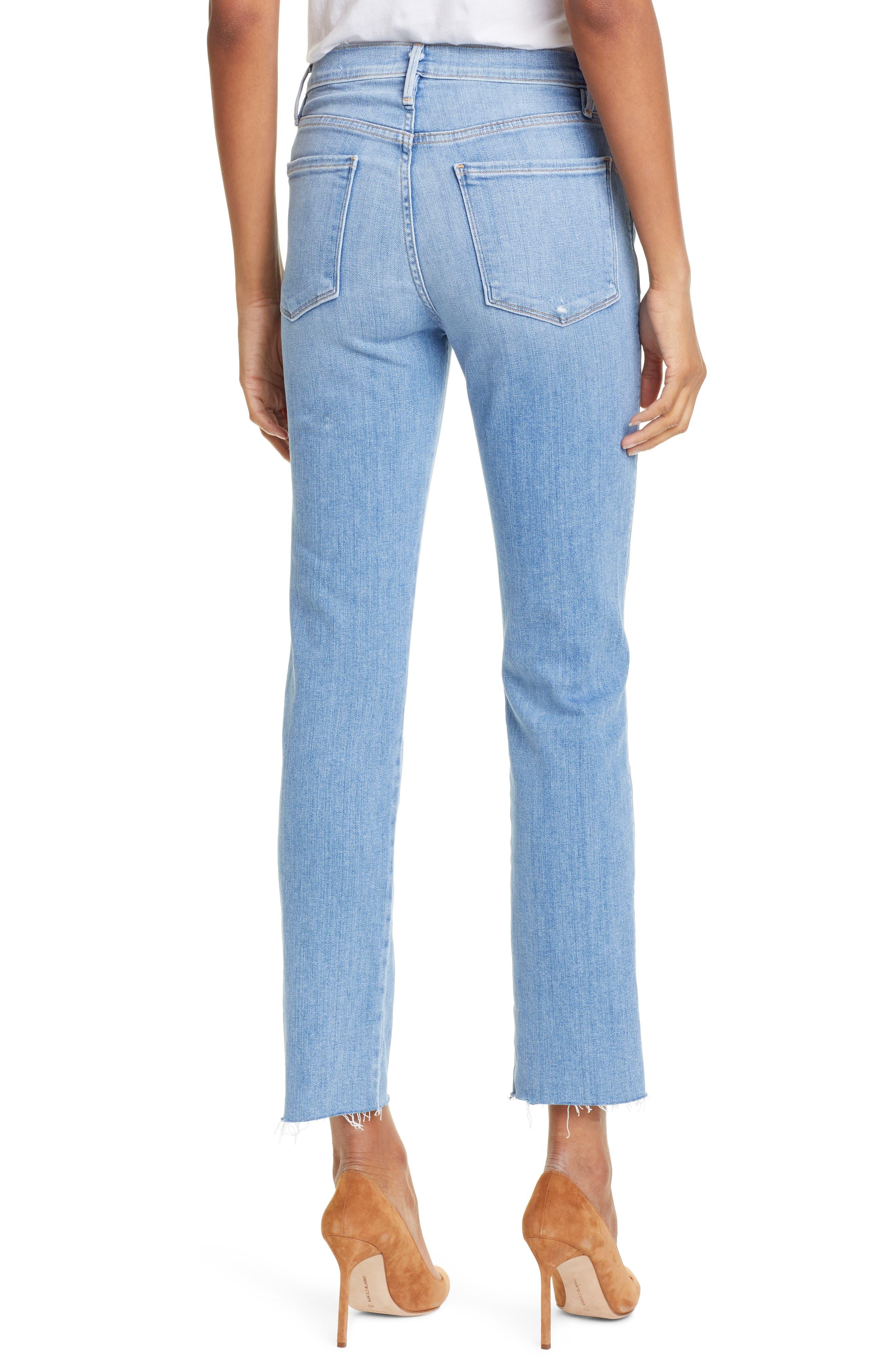 FRAME, Le Sylvie High Waist Raw Hem Straight Leg Jeans, Alternate thumbnail 2, color, OVERDRIVE