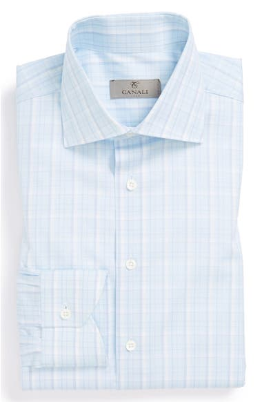 bd7c2923 Canali Poplin Graph Check Regular Fit Dress Shirt | Nordstrom