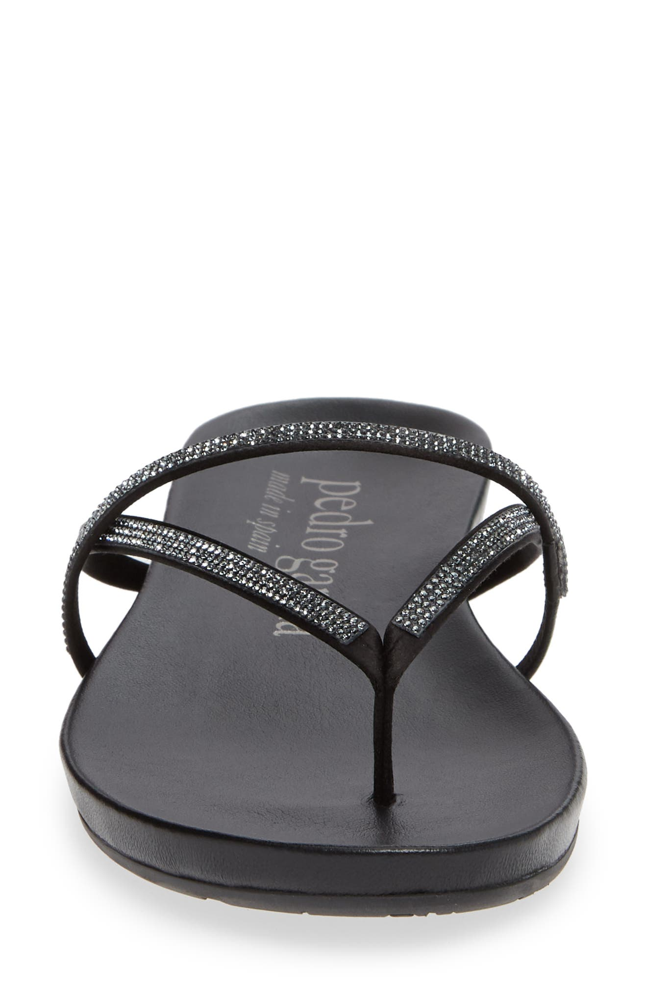 PEDRO GARCIA, Giulia Crystal Embellished Sandal, Alternate thumbnail 4, color, METEORITE SATIN