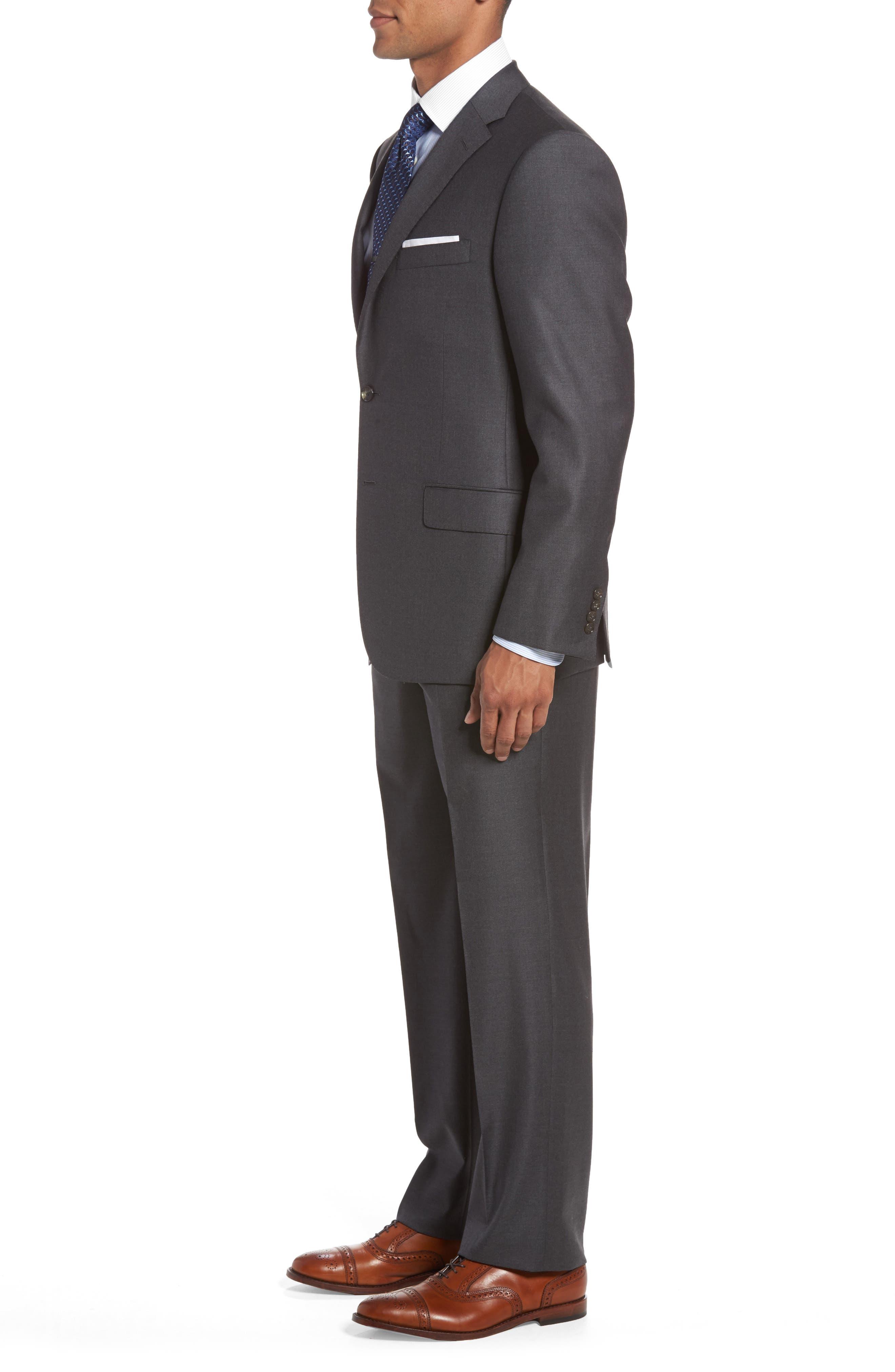 HICKEY FREEMAN, Classic B Fit Loro Piana Wool Suit, Alternate thumbnail 3, color, GREY