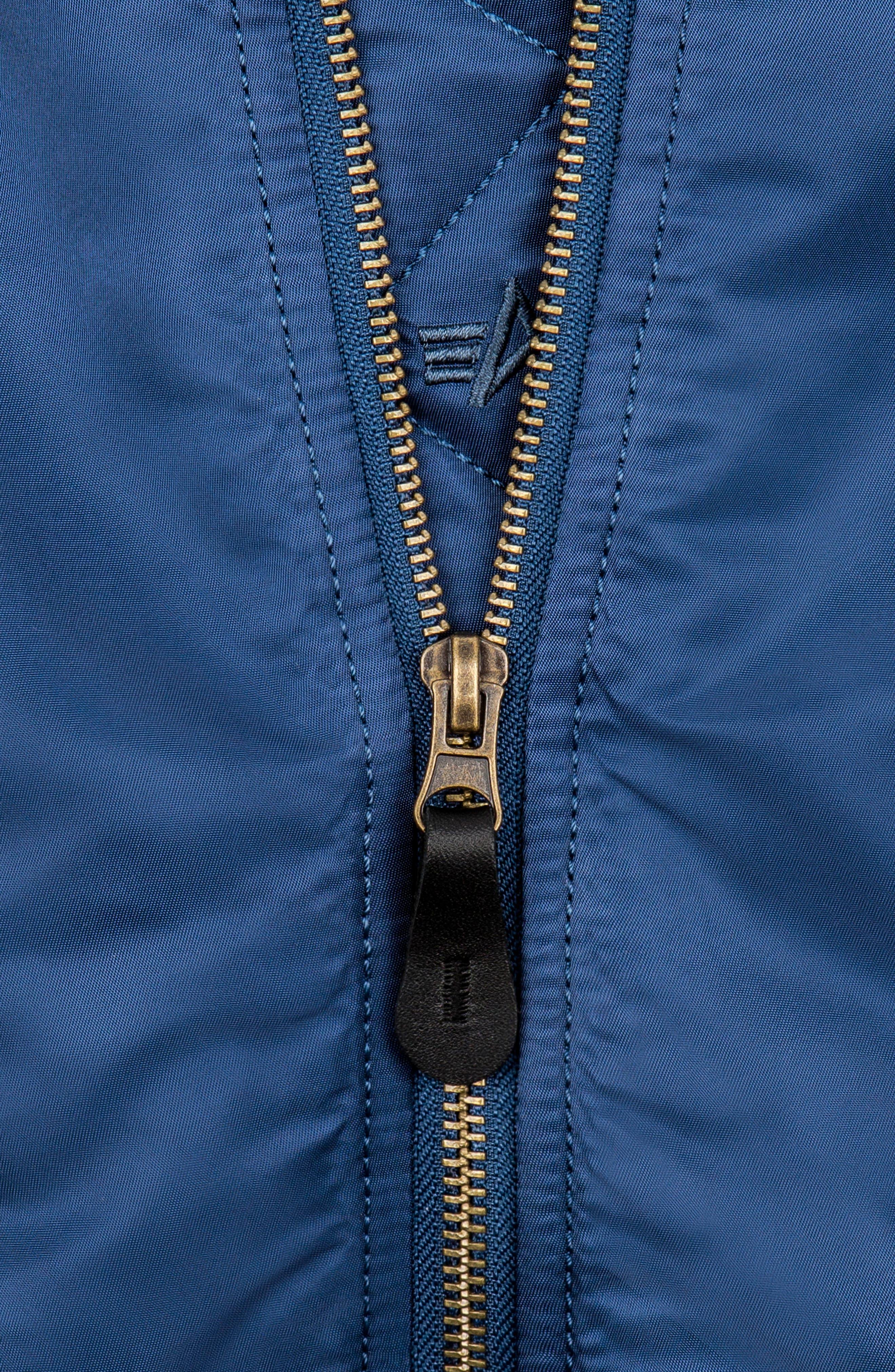 ALPHA INDUSTRIES, MA-1 Patch Flight Jacket, Alternate thumbnail 6, color, BLUE NO 9
