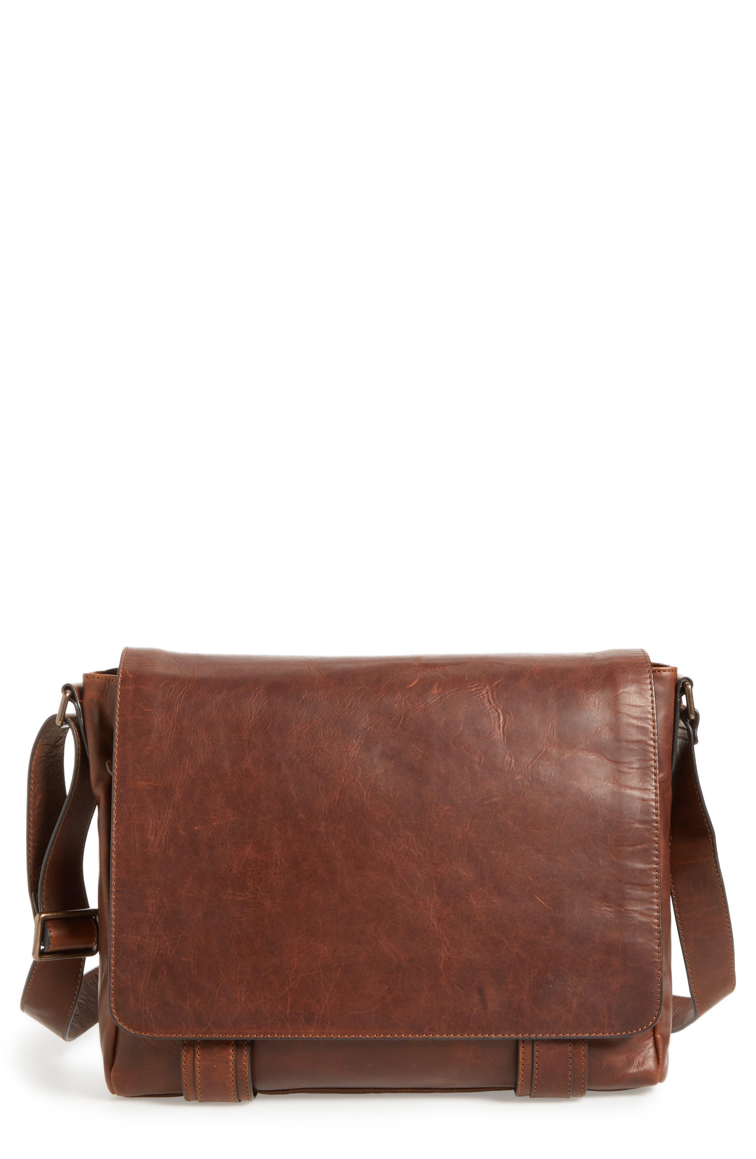 FRYE 'Logan' Messenger Bag, Main, color, ANTIQUE DARK BROWN