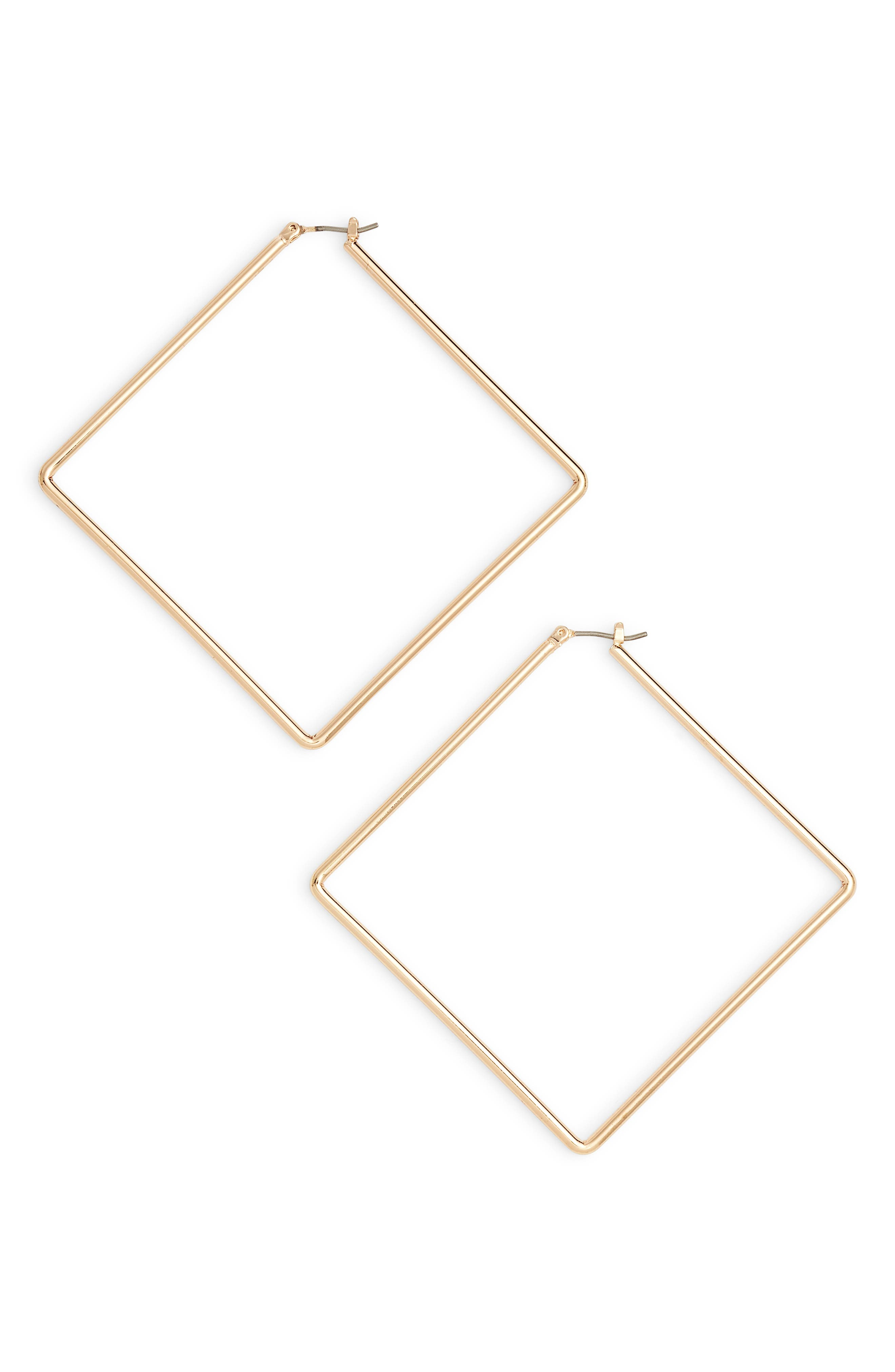 UNCOMMON JAMES BY KRISTIN CAVALLARI, Girl Boss Square Hoop Earrings, Main thumbnail 1, color, GOLD