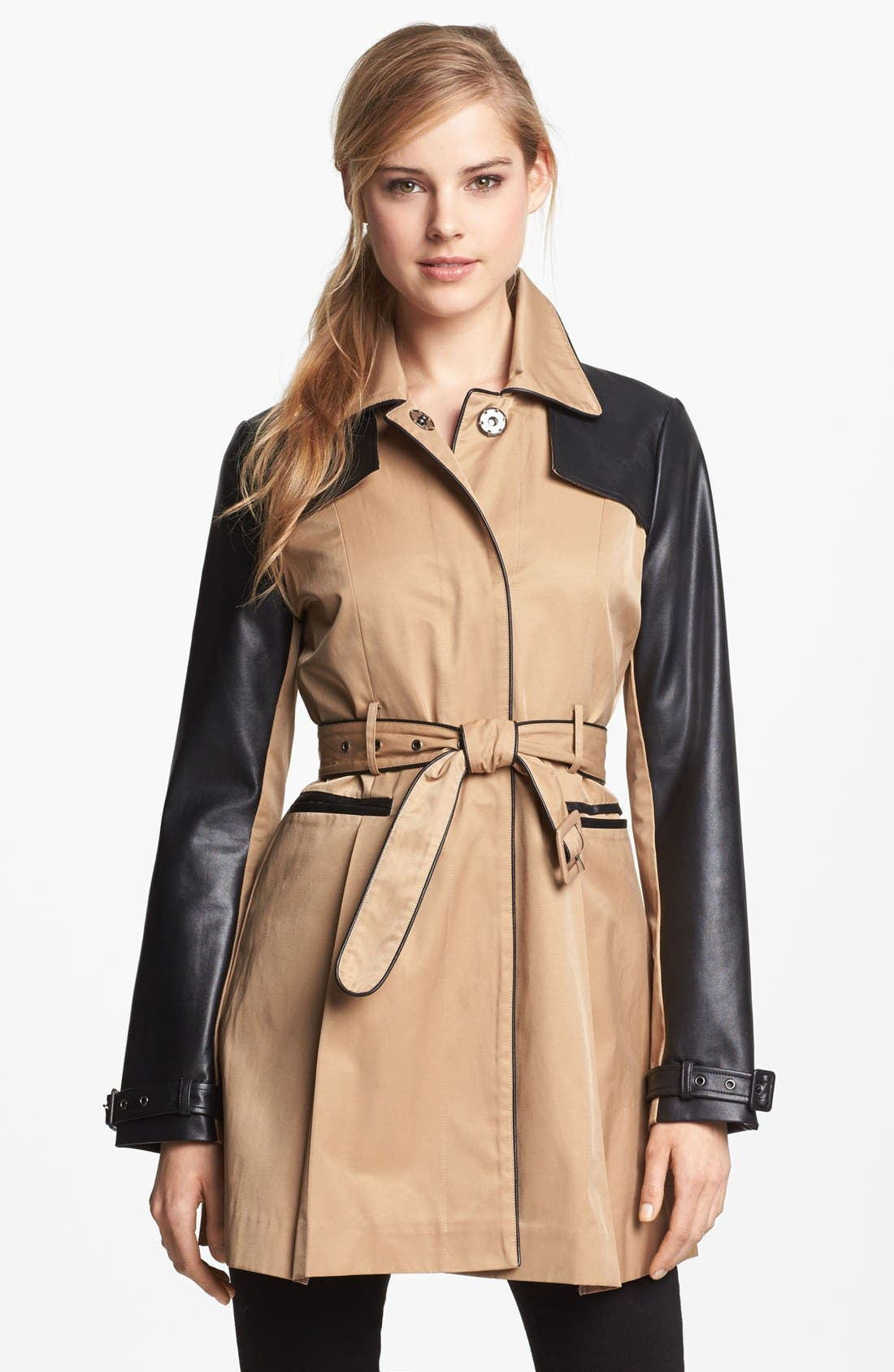 BEBE, Faux Leather Trim Trench Coat, Main thumbnail 1, color, 250
