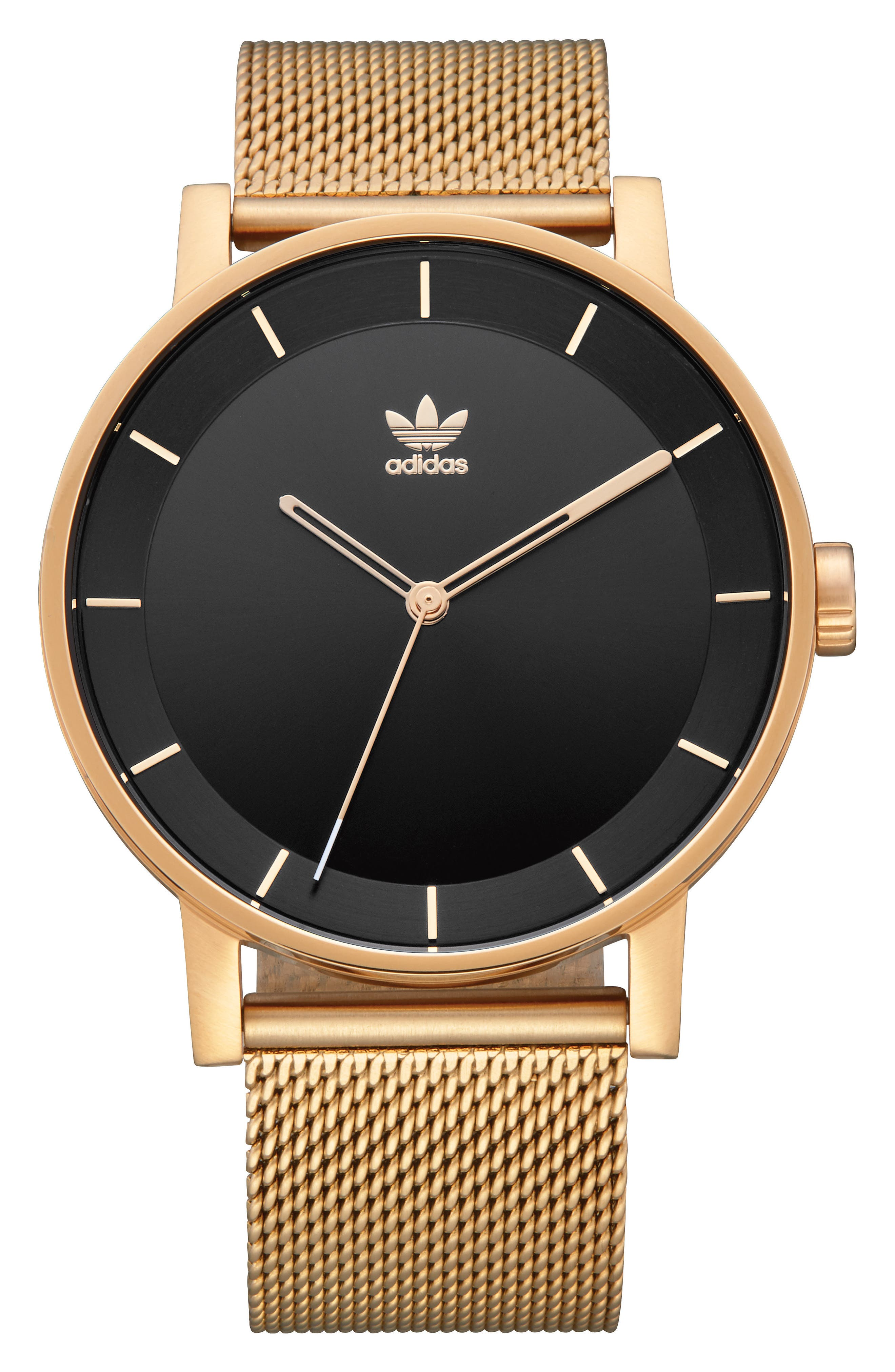 ADIDAS District Milanese Bracelet Watch, 40mm, Main, color, GOLD/ BLACK