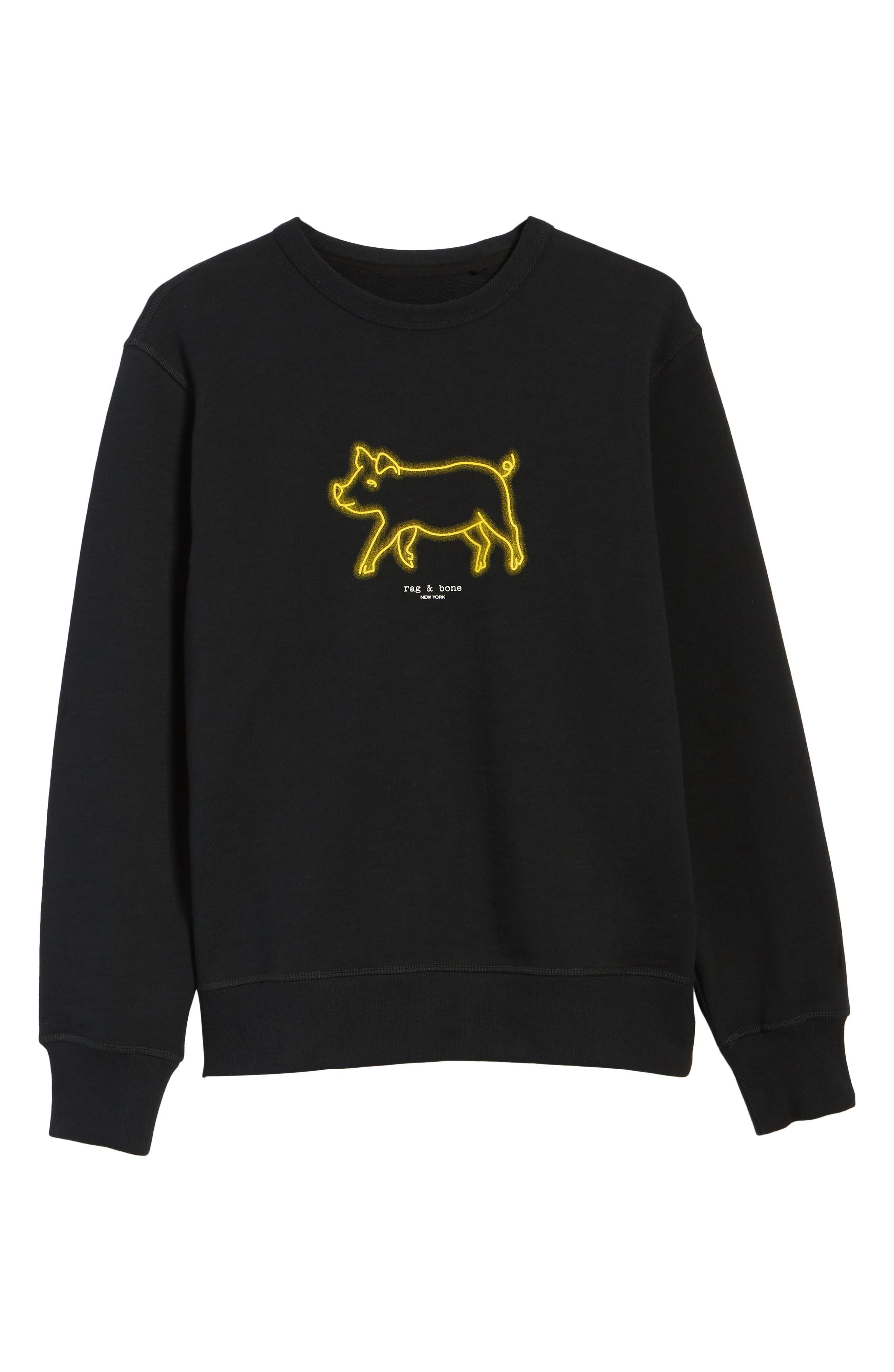 RAG & BONE, Year of the Pig Graphic Sweatshirt, Alternate thumbnail 6, color, BLACK