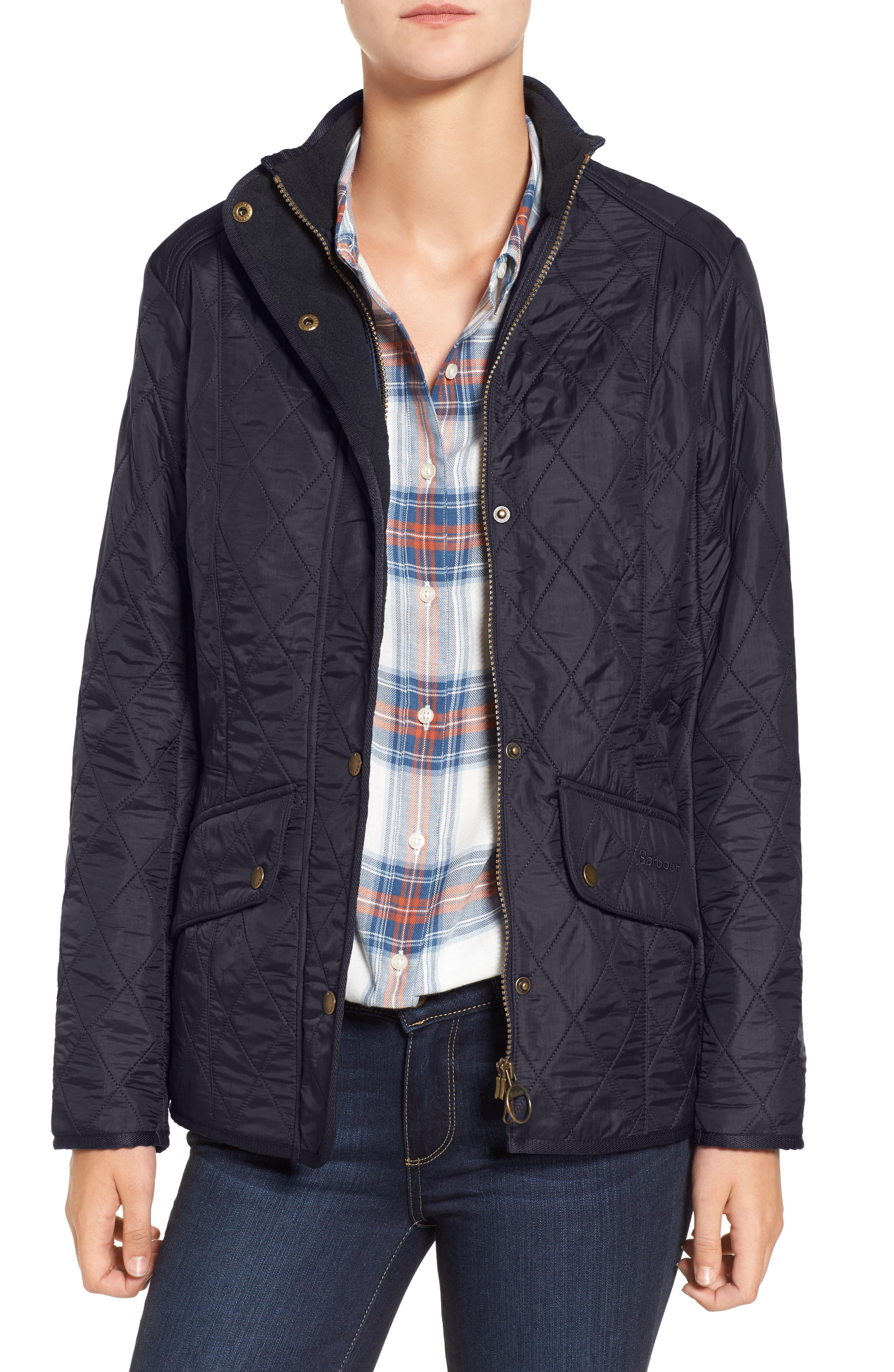 BARBOUR, 'Cavalry' Quilted Jacket, Alternate thumbnail 7, color, 001