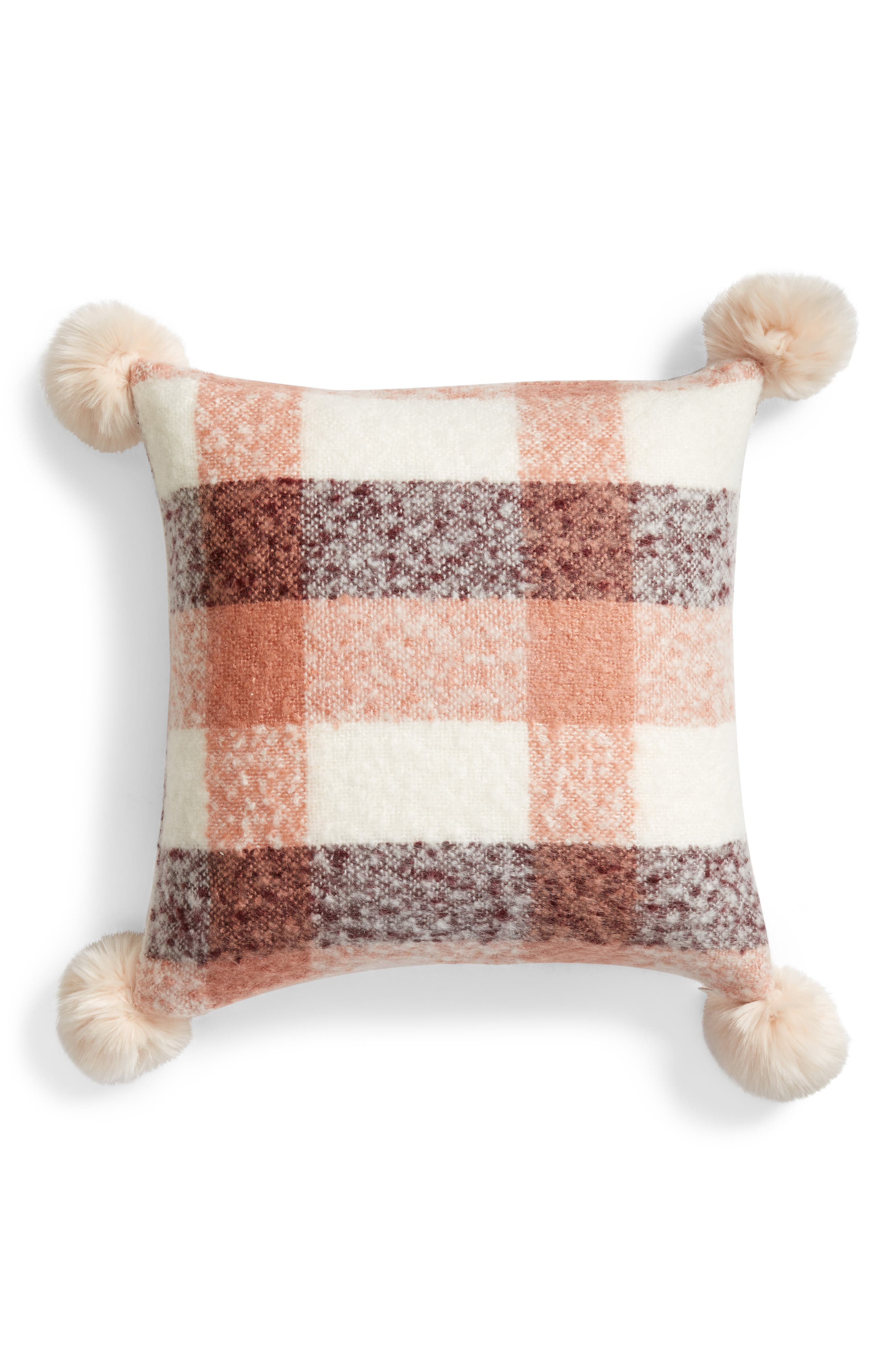 NORDSTROM AT HOME, Brushed Faux Fur Pom Accent Pillow, Main thumbnail 1, color, PINK DAWN MULTI