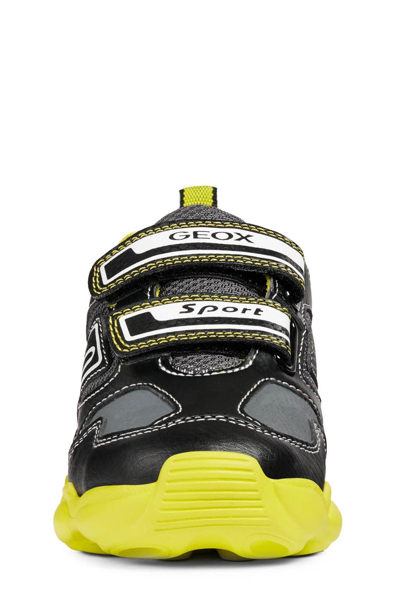 GEOX, Munfrey Waterproof Sneaker, Alternate thumbnail 4, color, BLACK/ LIME