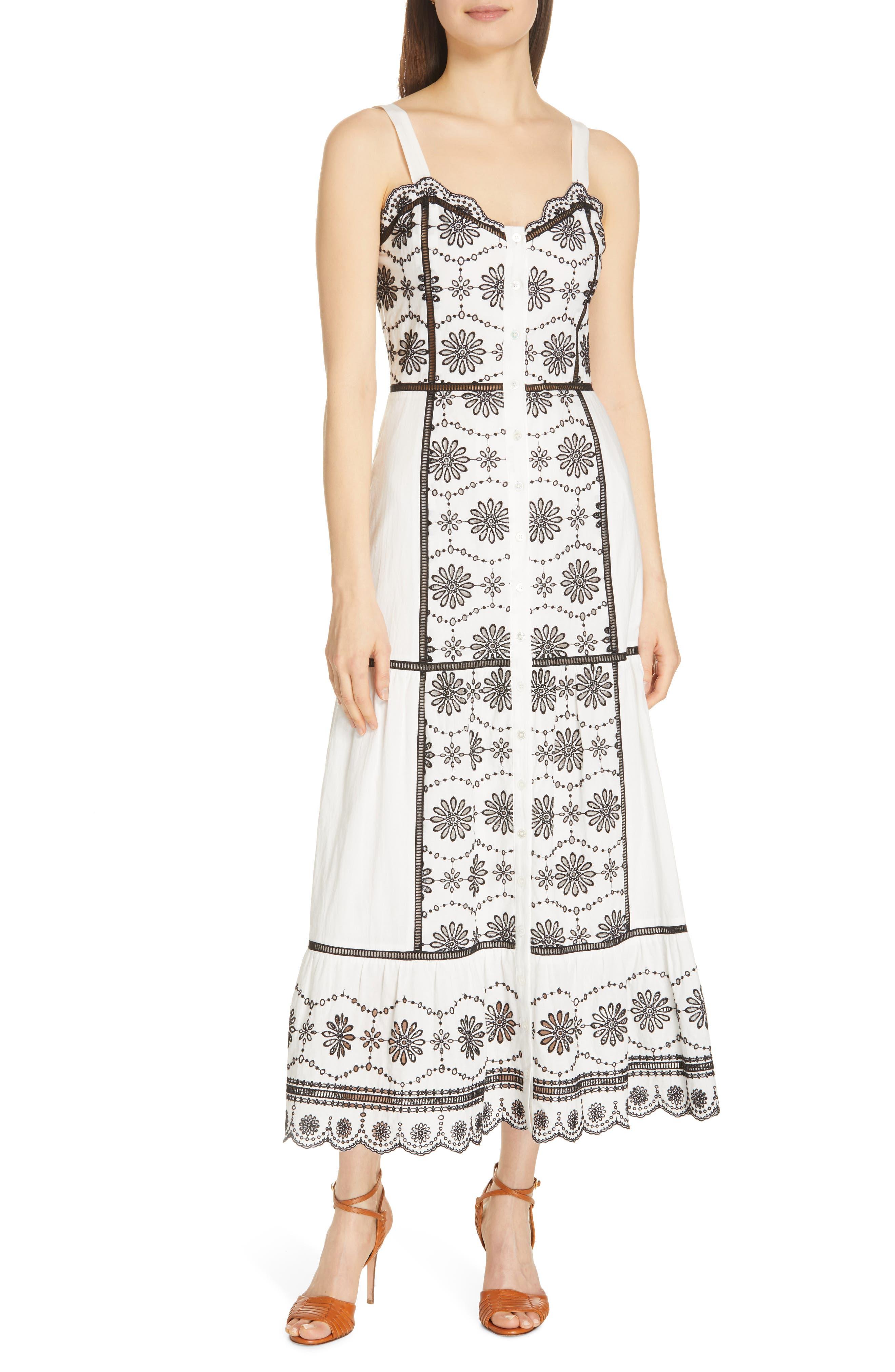 VERONICA BEARD, Sasha Broderie Anglaise Dress, Main thumbnail 1, color, BLACK/ WHITE