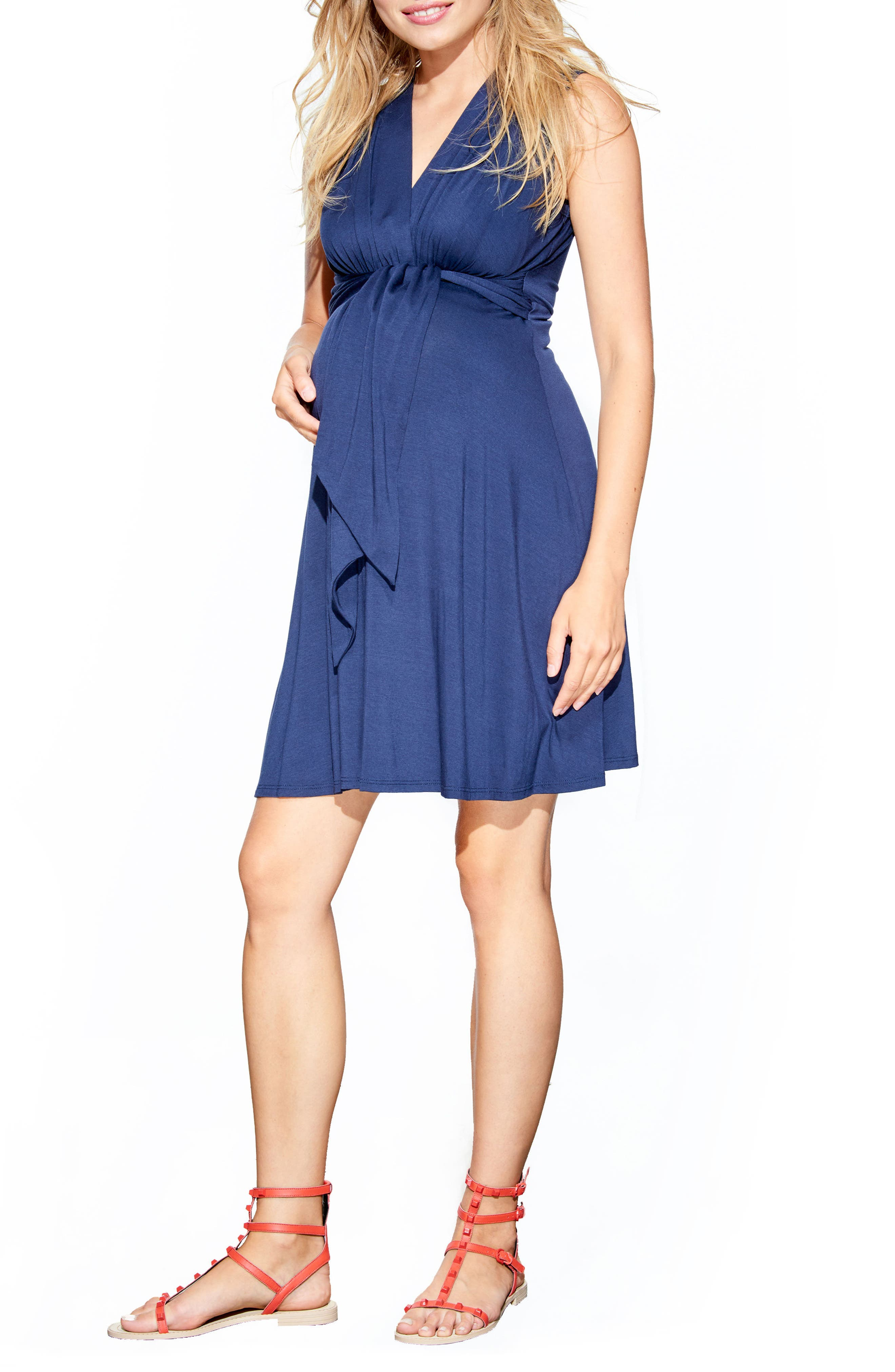 MATERNAL AMERICA, Tie Front Maternity Dress, Main thumbnail 1, color, NAVY