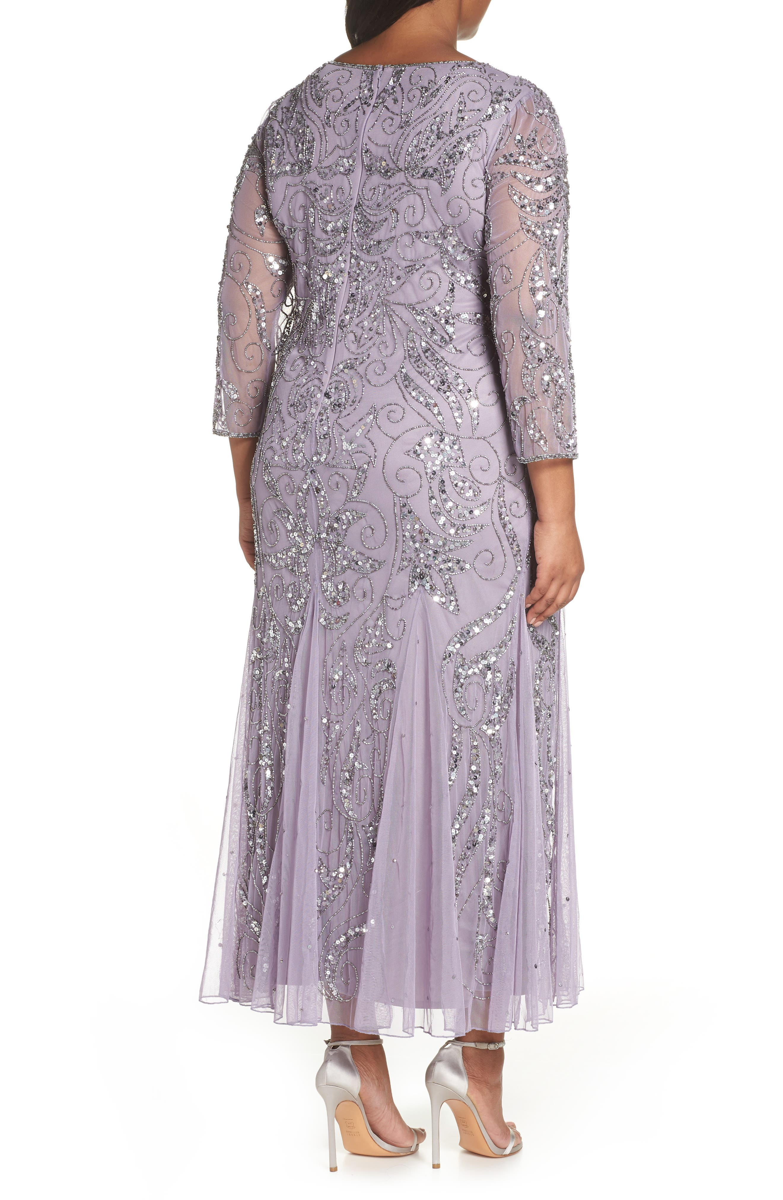 PISARRO NIGHTS, Embellished Three Quarter Sleeve Gown, Alternate thumbnail 2, color, NEW LAVENDER