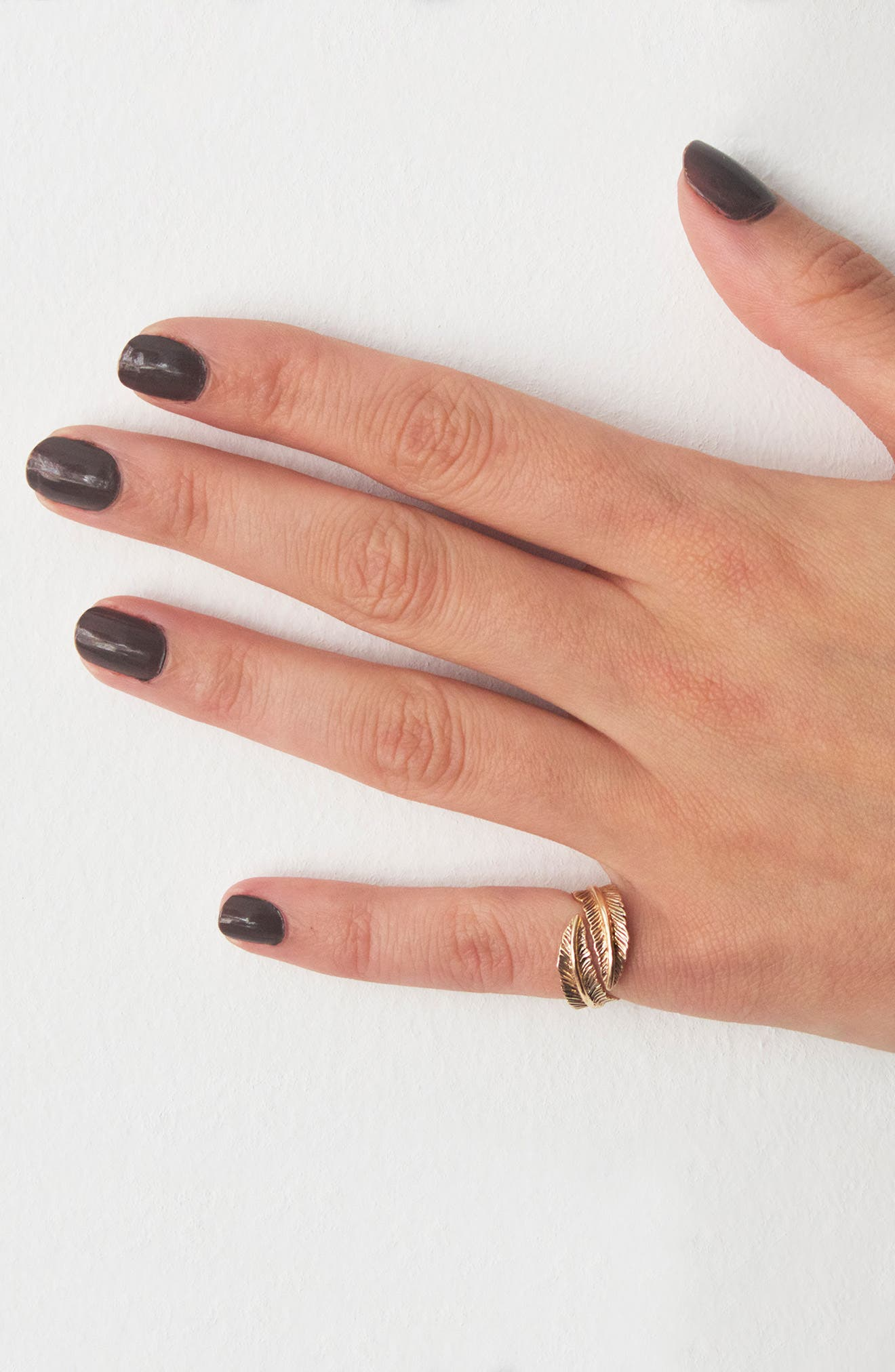 KISMET BY MILKA, Double Row Feather Pinky Ring, Alternate thumbnail 2, color, ROSE GOLD